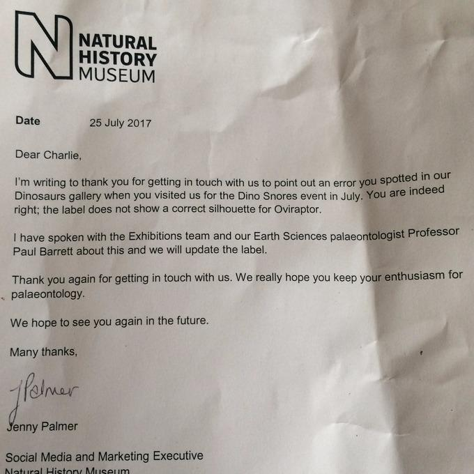 Natural History Museum Letter