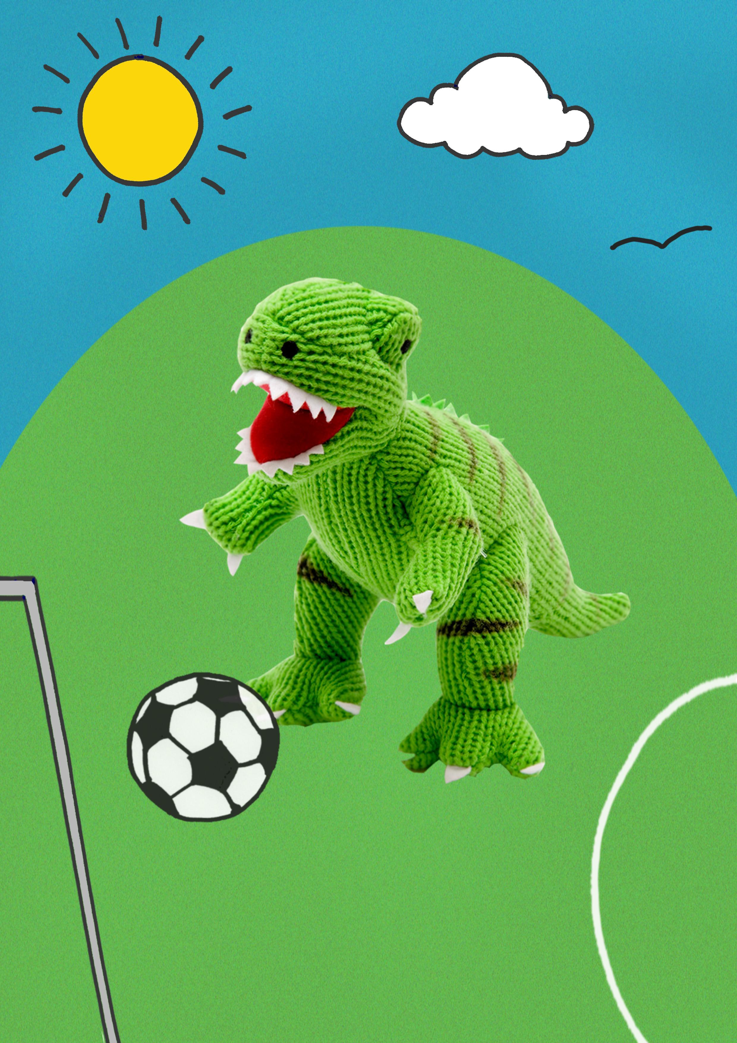 T Rex with football