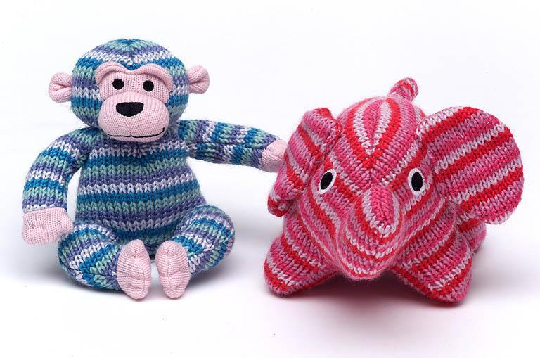 knitted elephnt and monkey