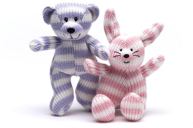 knitted baby rattles