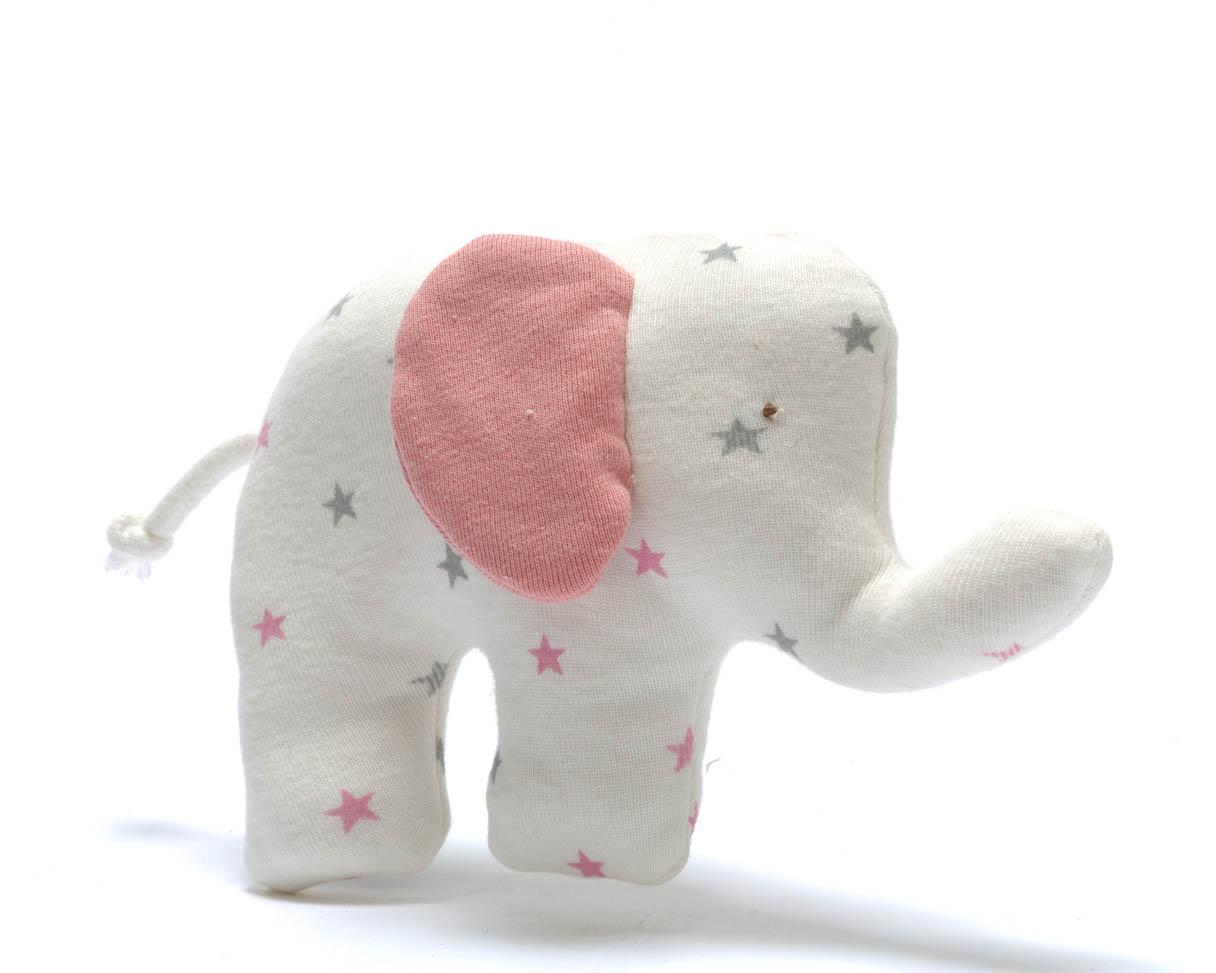 organic baby toy elephant pink