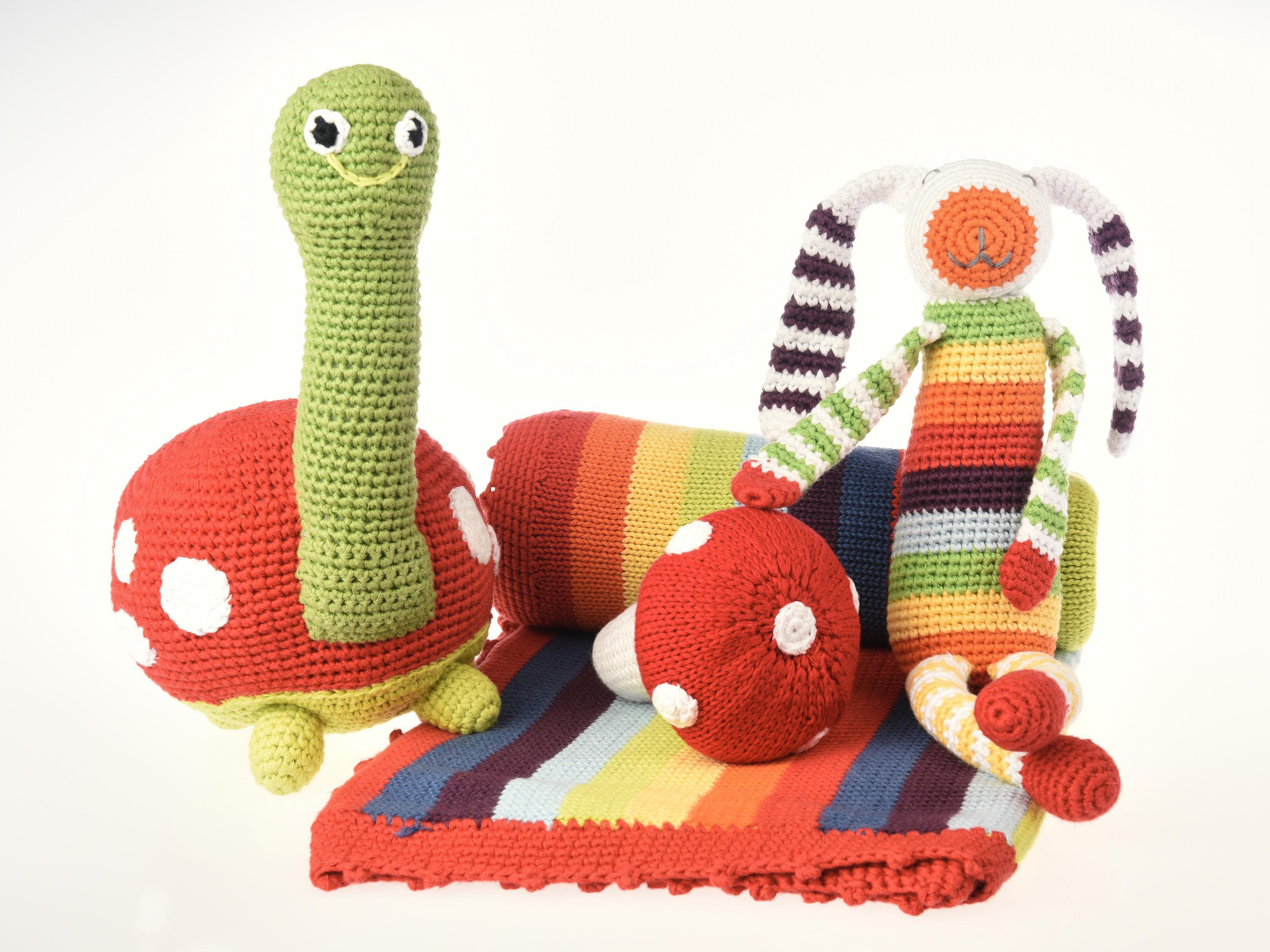 baby blanket and toys