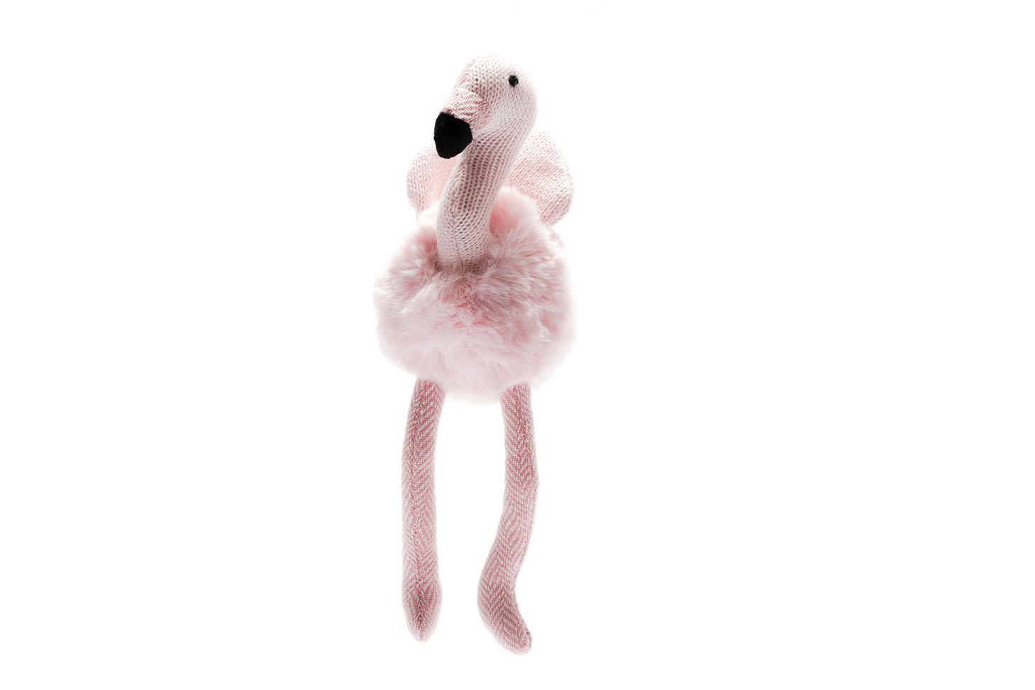 small pale pink fluffy flamingo baby toy with rattle