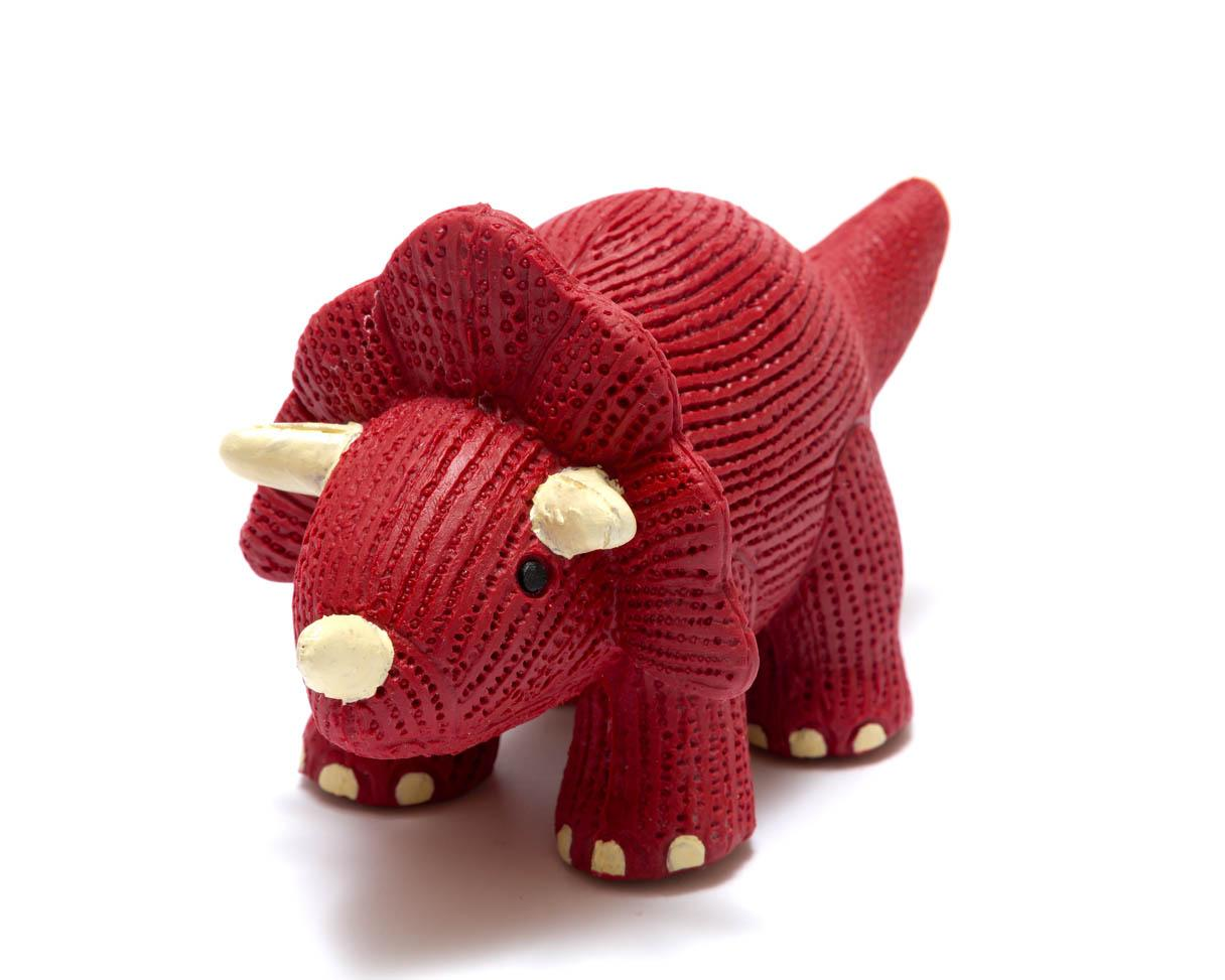 natural rubber red triceratops dinosaur toy for babies