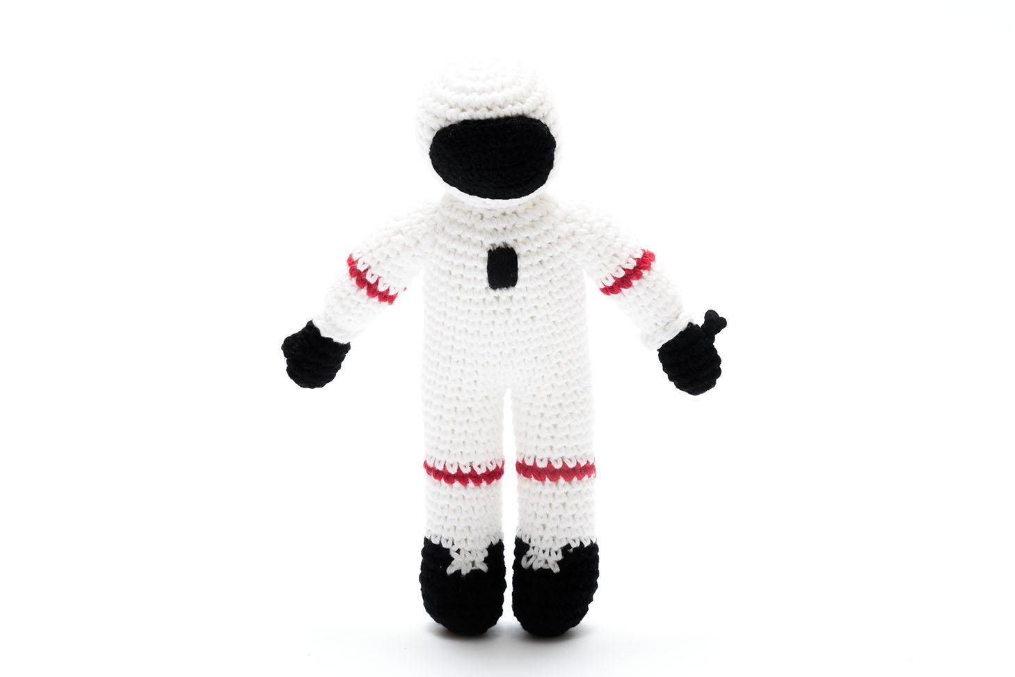 handade cotton crochet white astronaut baby toy with rattle