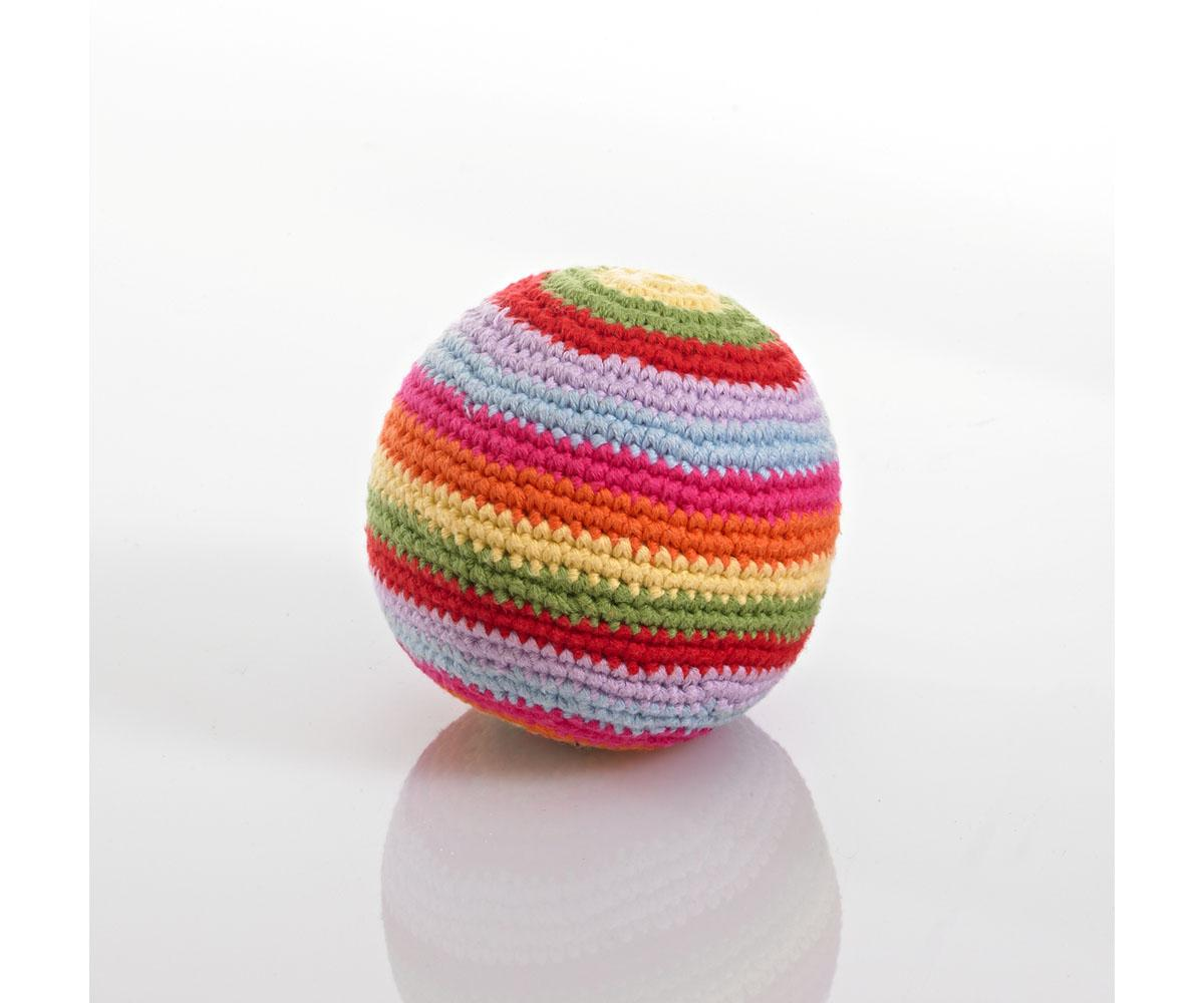 Fair Trade Crochet Cotton Ball Baby Rattle in Multi Colour Stripes