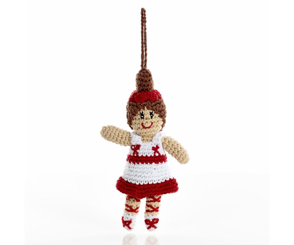 Xmas knitted ballerina christmas decoration for Ballerina decoration