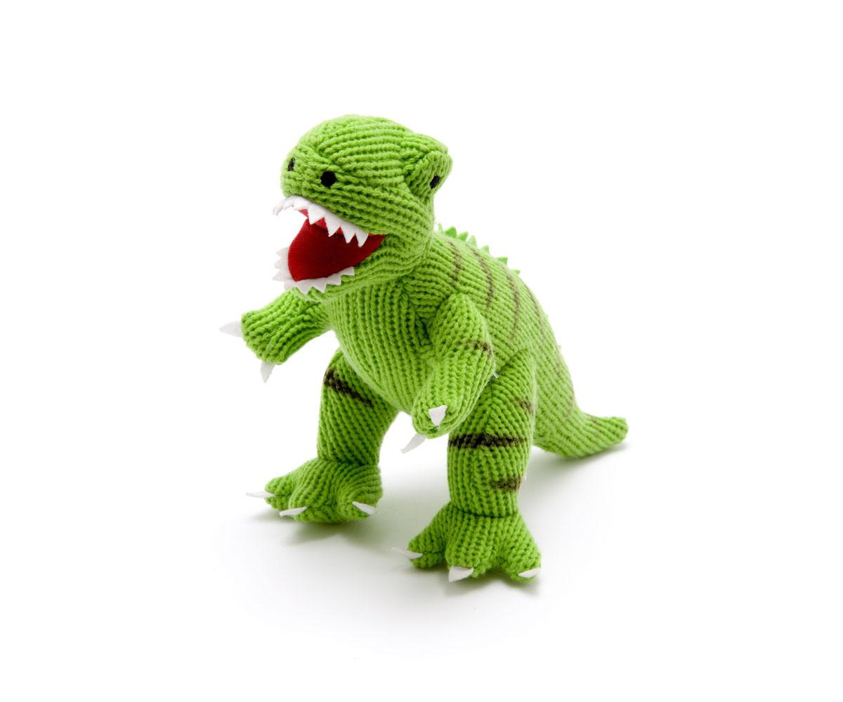 dinosaur toy, knitted green t rex toy
