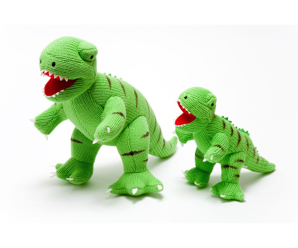 large dinosaur toy, knitted green T Rex