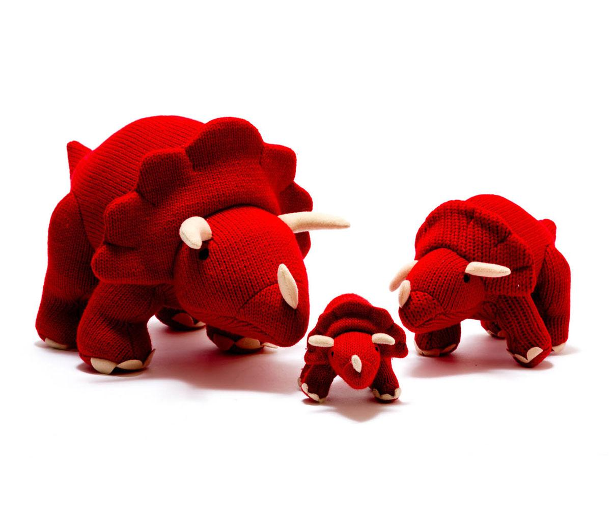 large knitted dinosaur toy, knitted red triceratops
