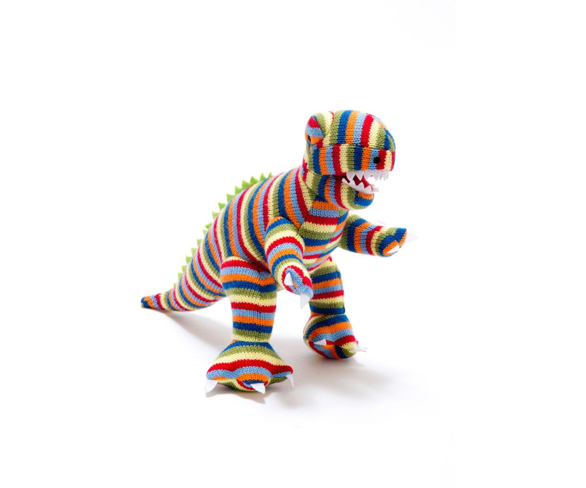 bright stripe knitted t rex dinosaur toy