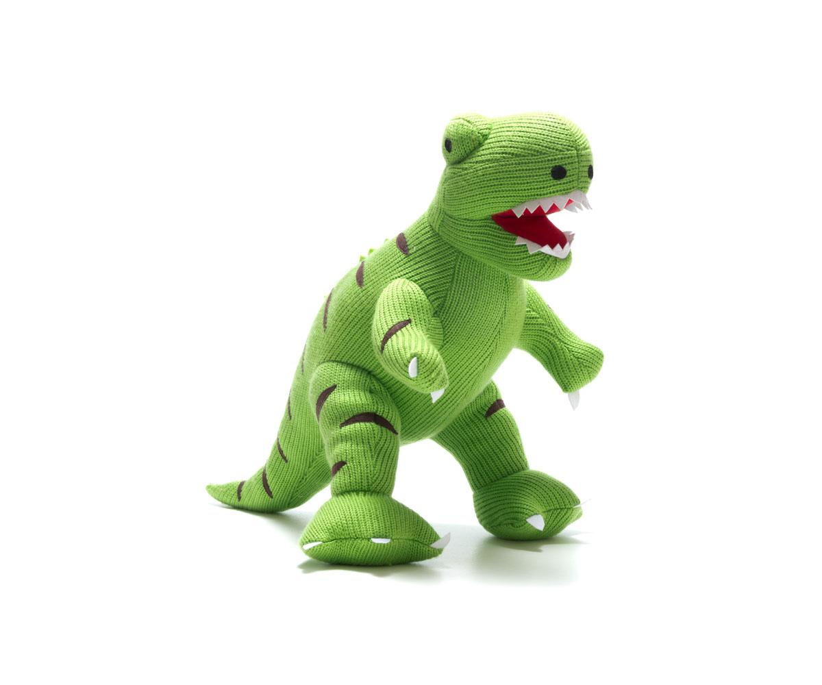 very large dinosaur toy, supersize green knitted t rex