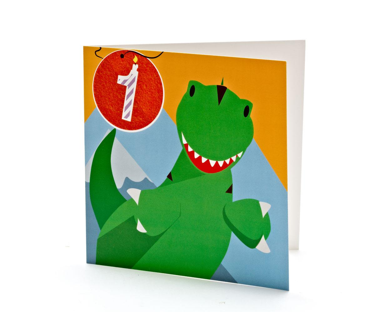 Birthday Wishes T Rex Cartoon Card 1 Year