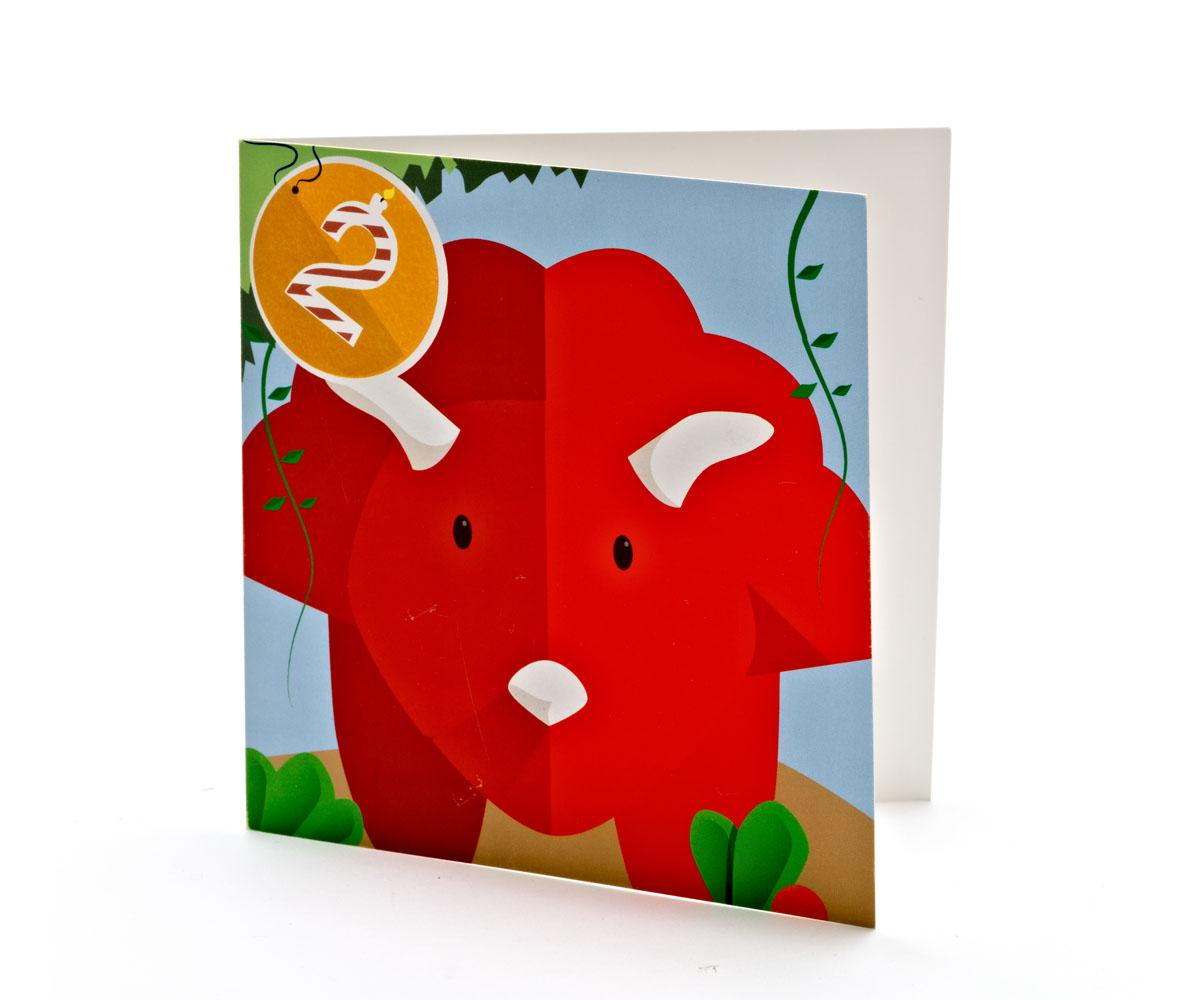 Birthday Wishes Triceratops Cartoon Card 2 Years