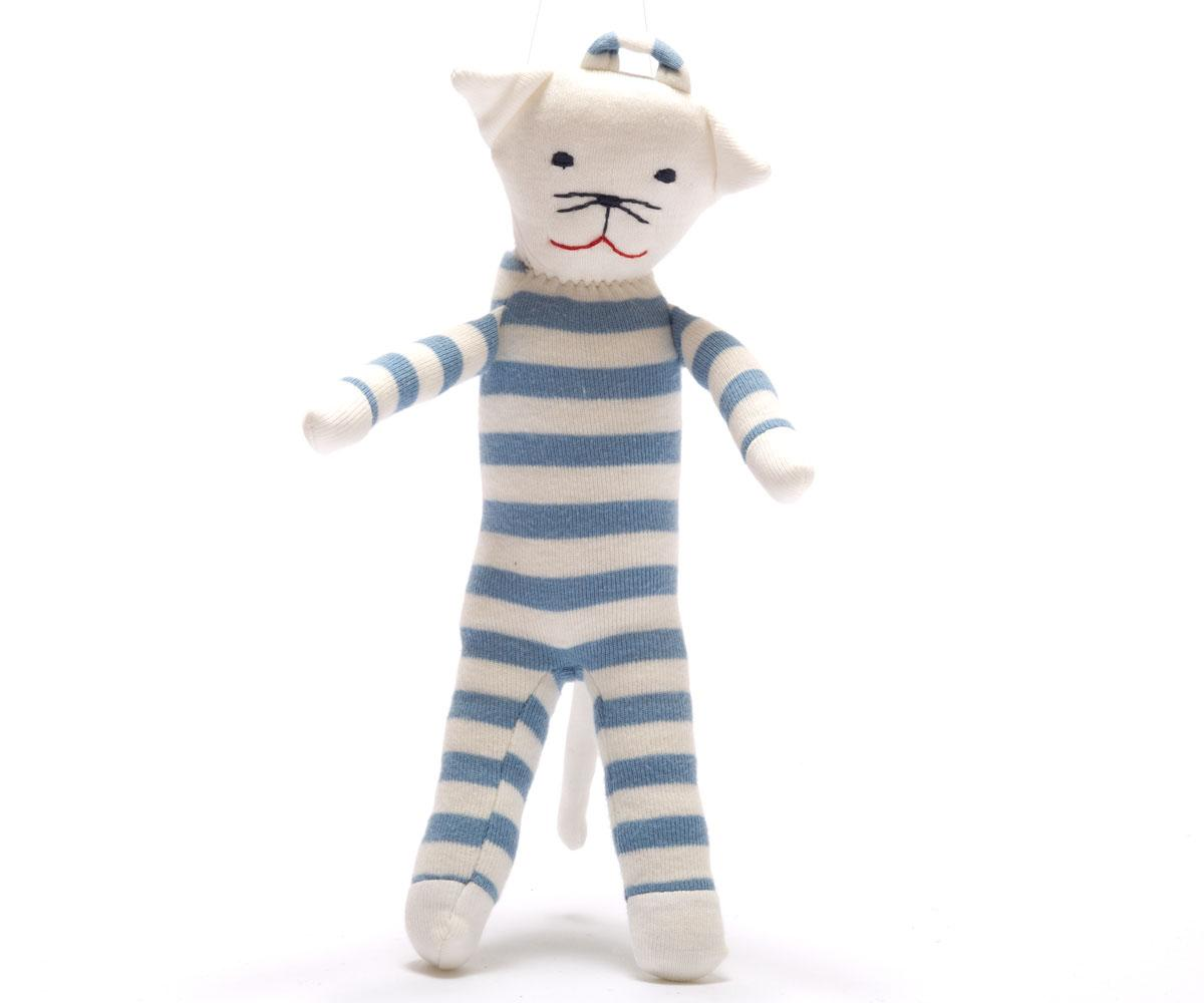 Blue Baby Toys : Baby toys cat toy scrappy blue white stripe