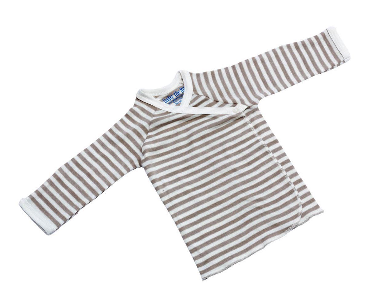 Clothes : Organic Long Sleeve Side Snap Tee, tan stripe 0 ...