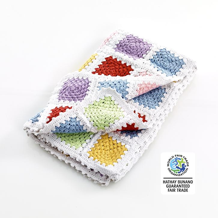 fair trade cotton crochet baby blanket