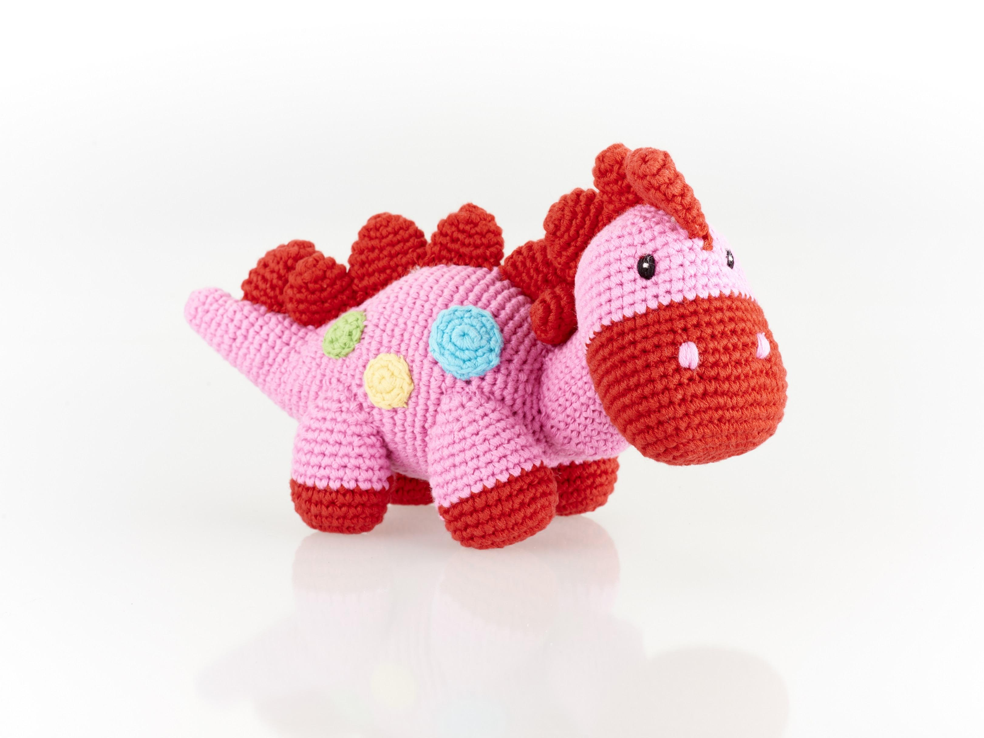 fair trade crochet cotton pink dinosaur baby rattle