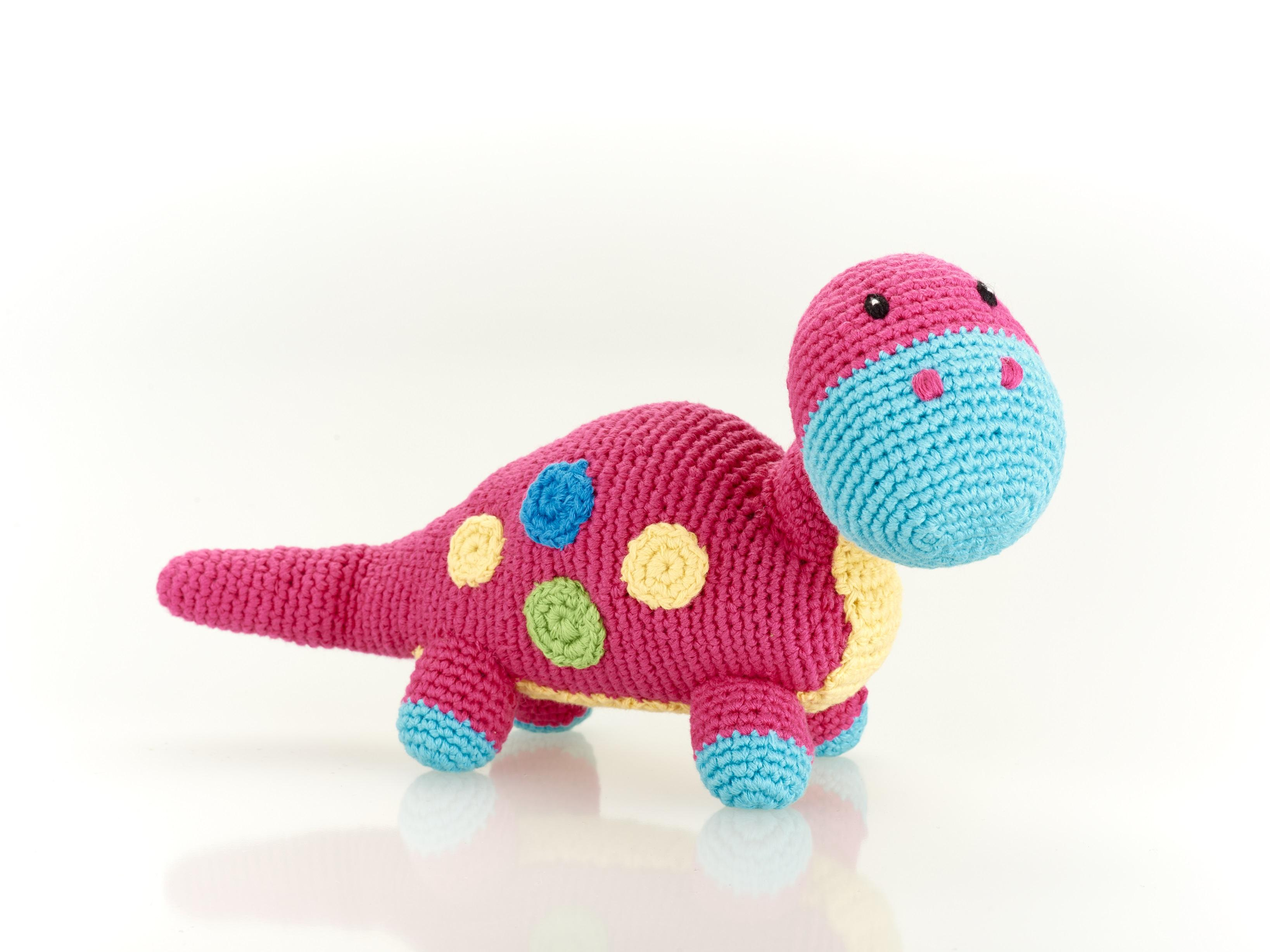 Fair Trade Cotton Baby Dinosaur Toy, pink steggi rattle
