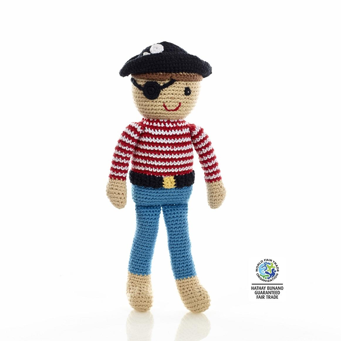 Fair trade and handmade pirate doll. Suitable from birth