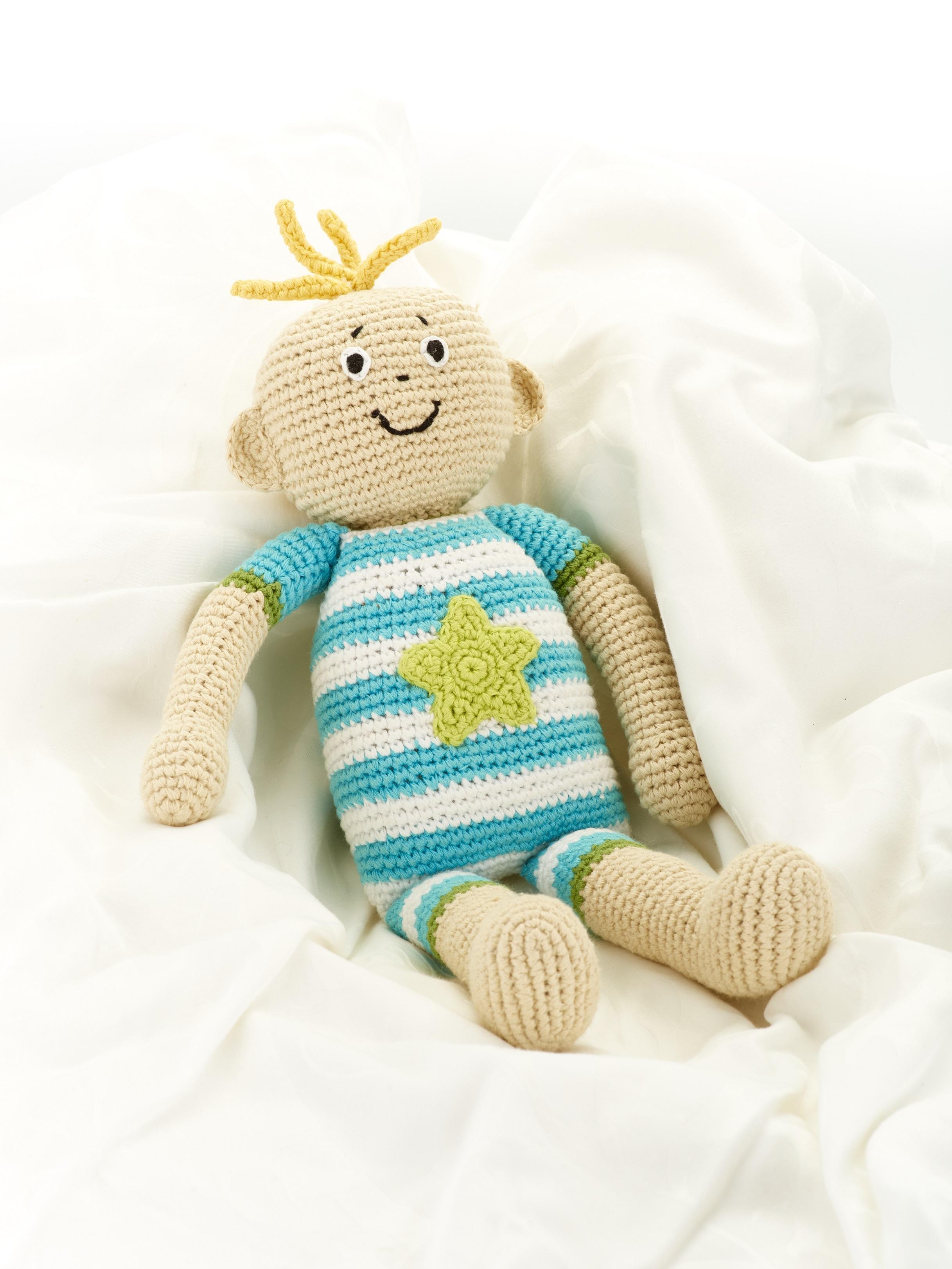 8d154d48c Fair Trade Crochet Cotton Baby Boy Soft Doll