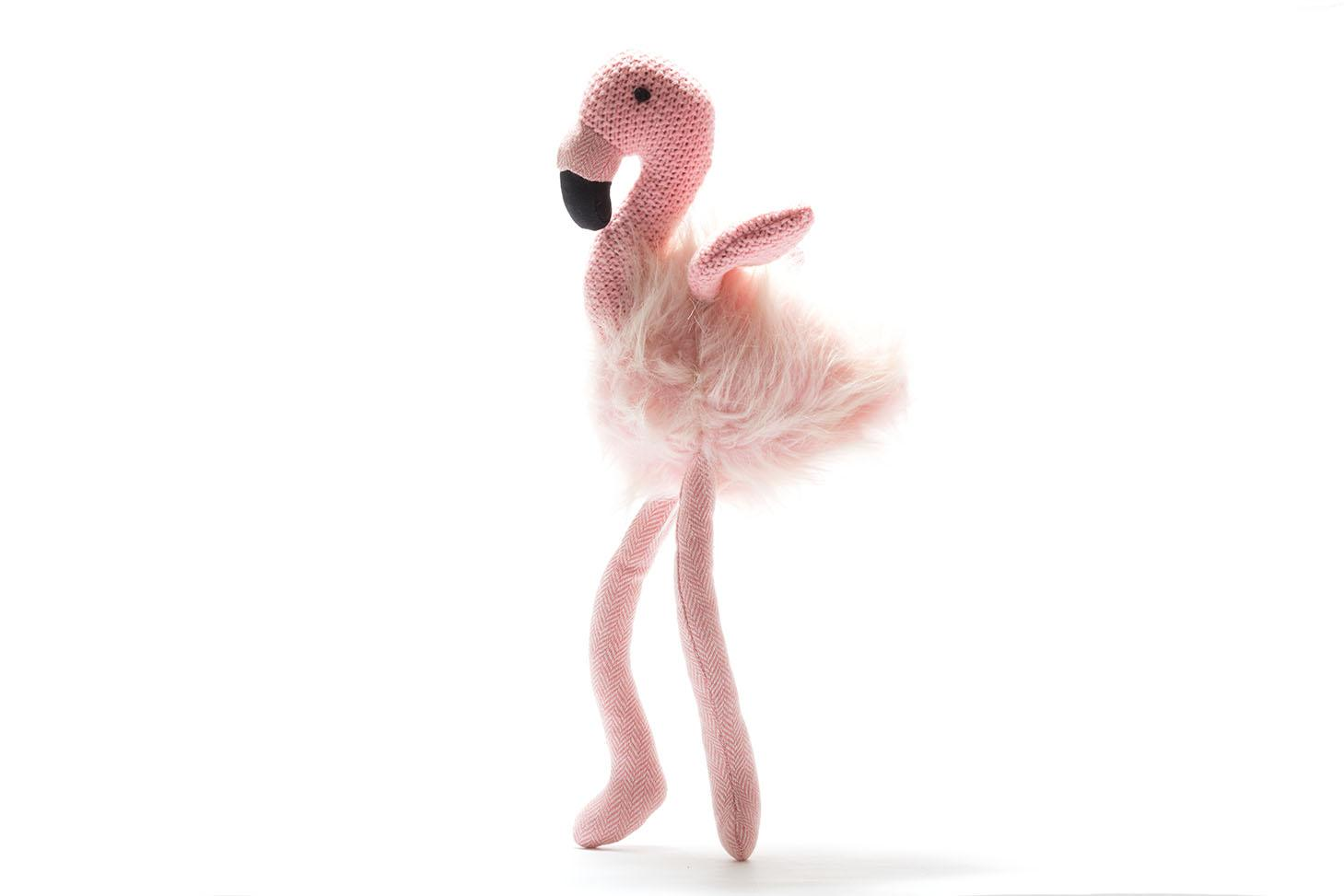 large fluffy pink flamingo toy with knitted wings