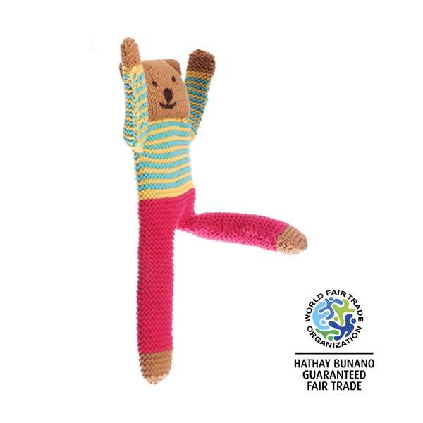 Traditional crochet teddy bear soft toy with pink trousers and stripe jumper with long limbs