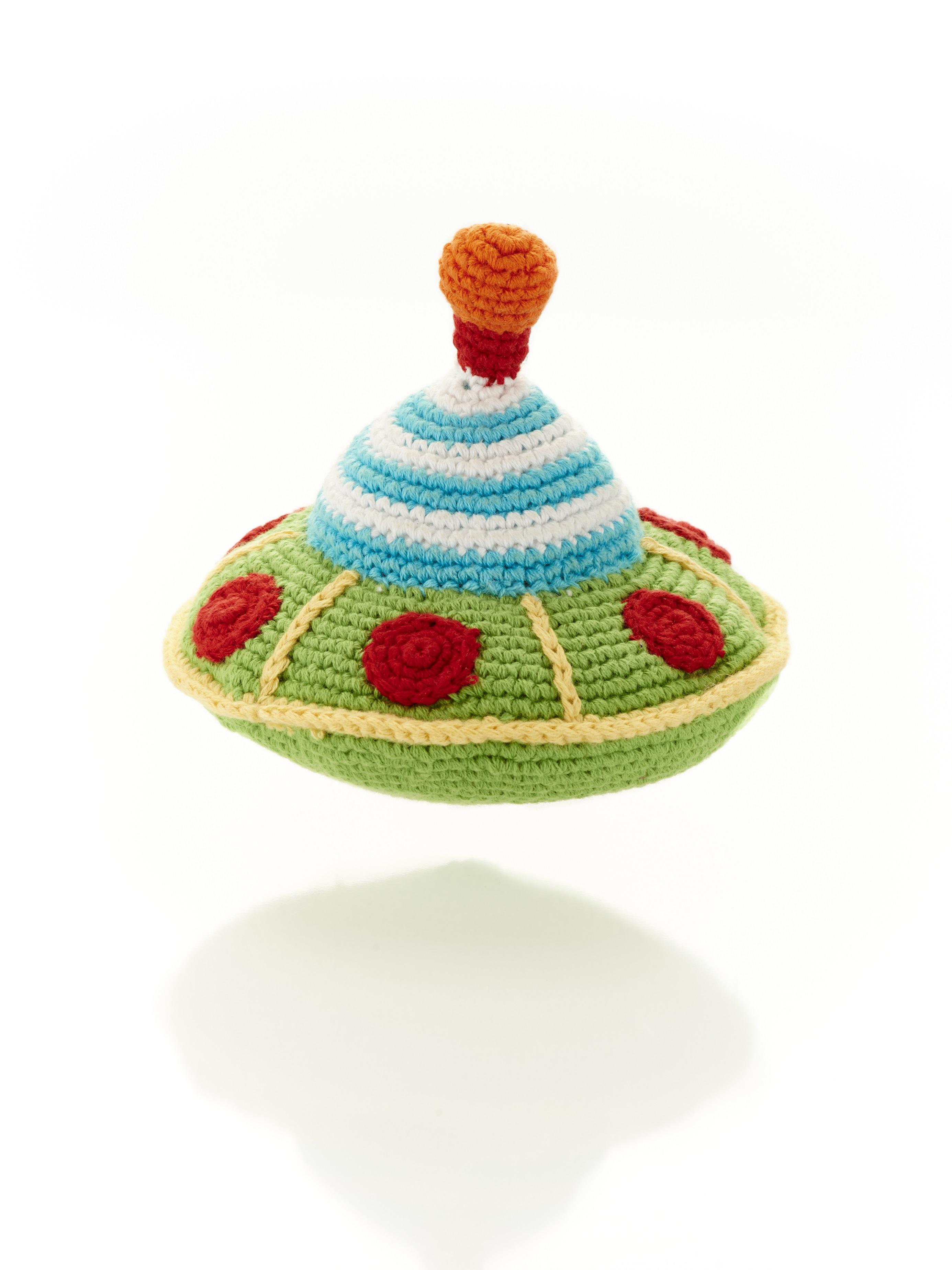 Green flying saucer crochet cotton space toy for babies with stripe blue and white top and red windows