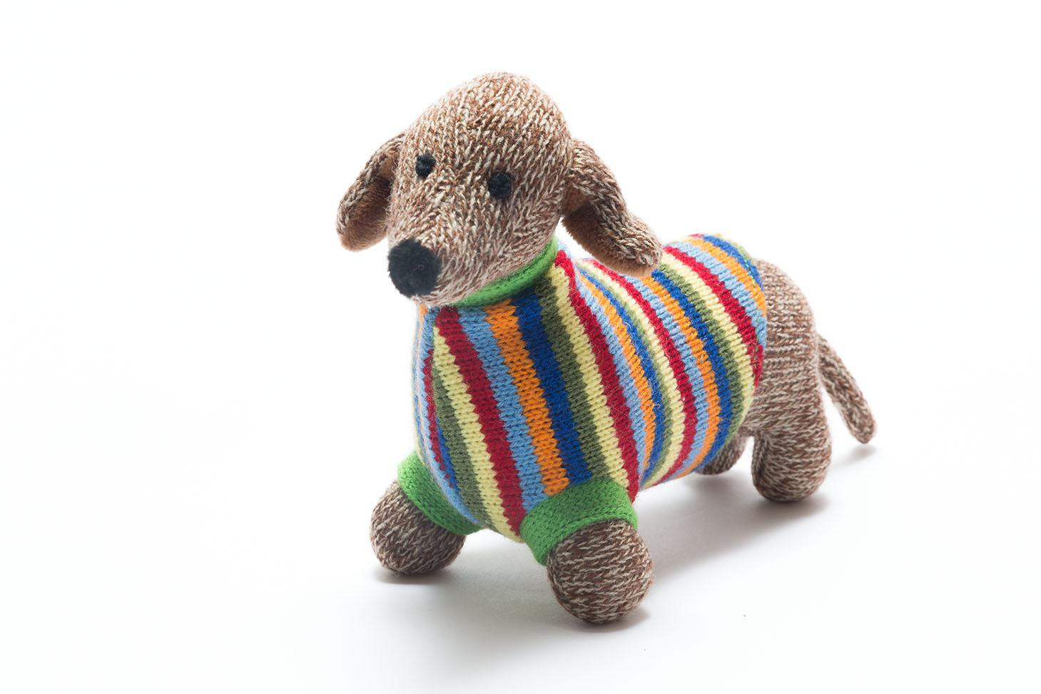 knitted sausage dog toy with bright stripe coat