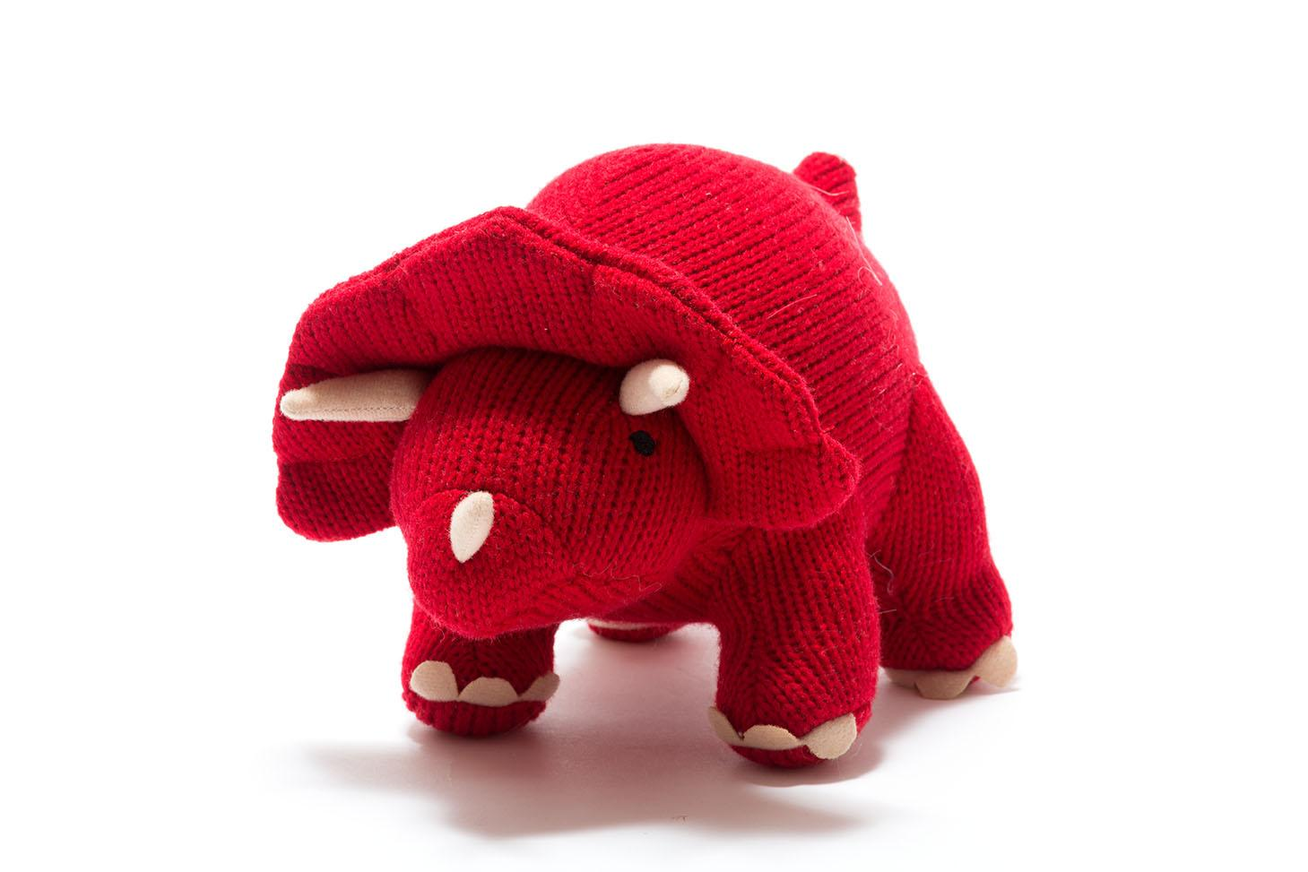 knitted red triceratops dinosaur toy