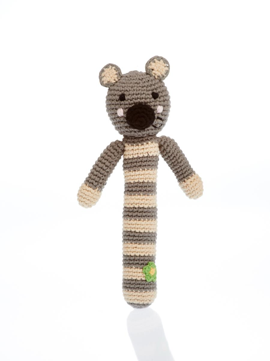 Fair Trade Crochet Cotton Koala Stick Baby Rattle