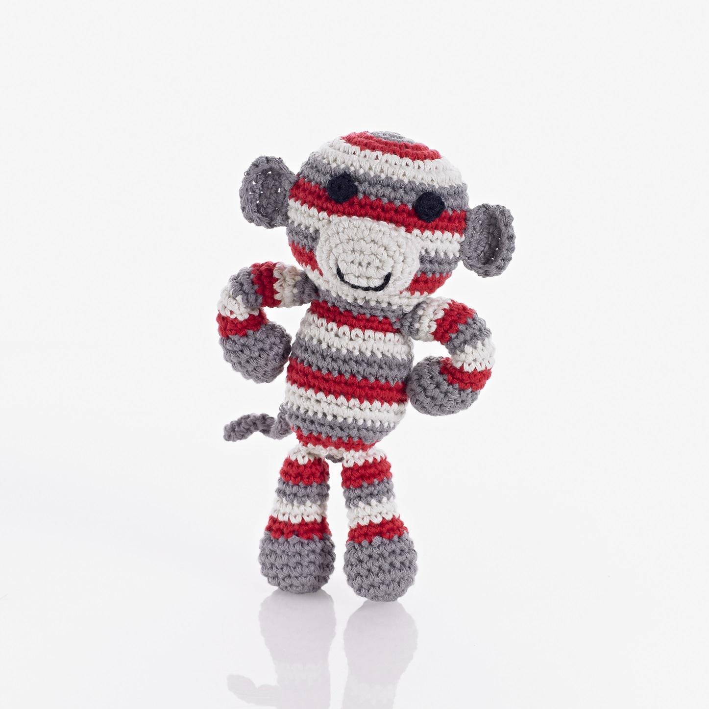 Fair Trade Crochet Red Monkey Rattle
