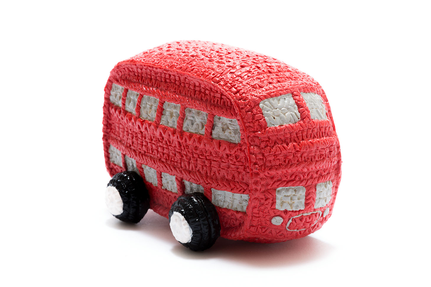 Natural rubber red double decker bus baby toy with grey windows and white and black wheels