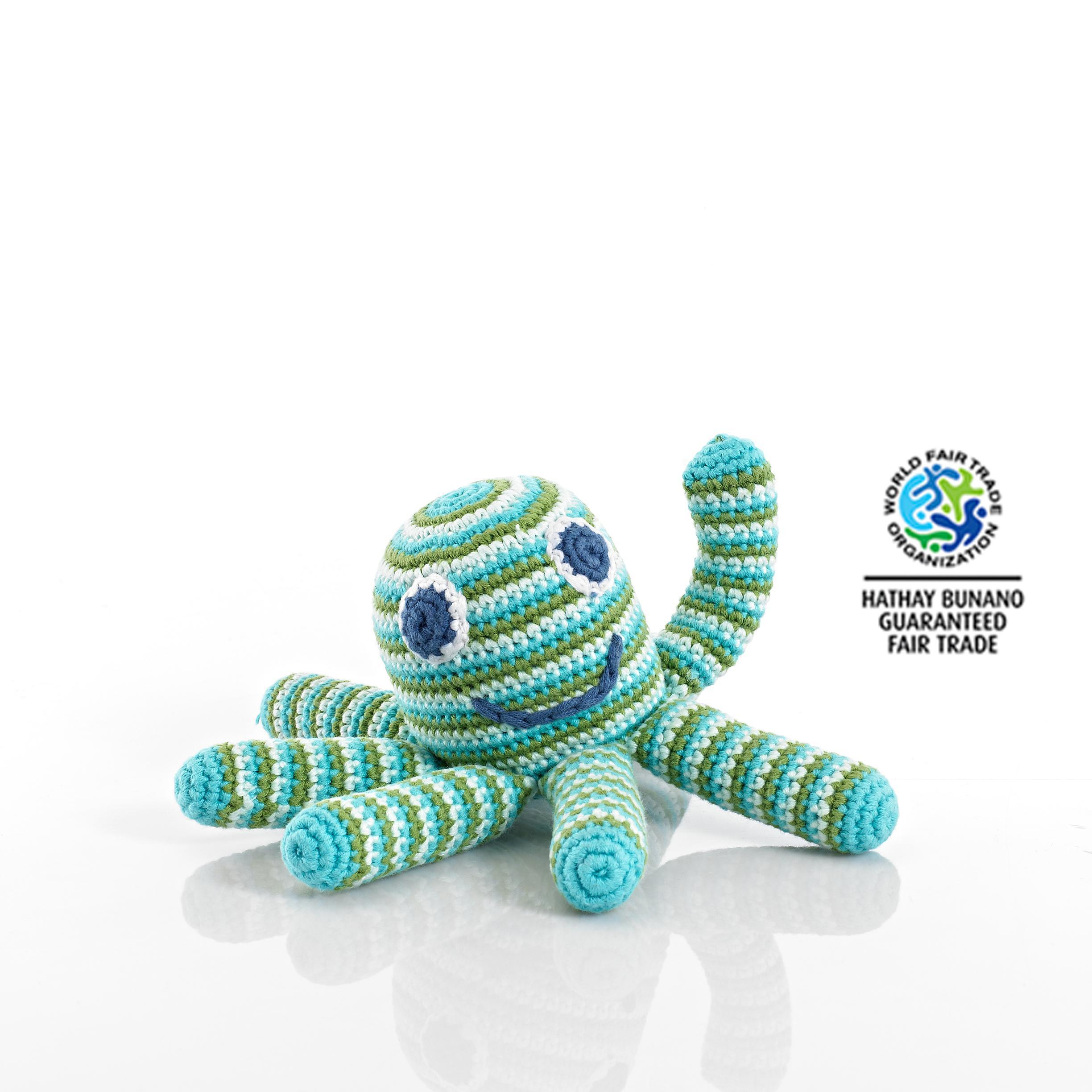 Blue Baby Toys : Baby toys fair trade crochet cotton octopus rattle