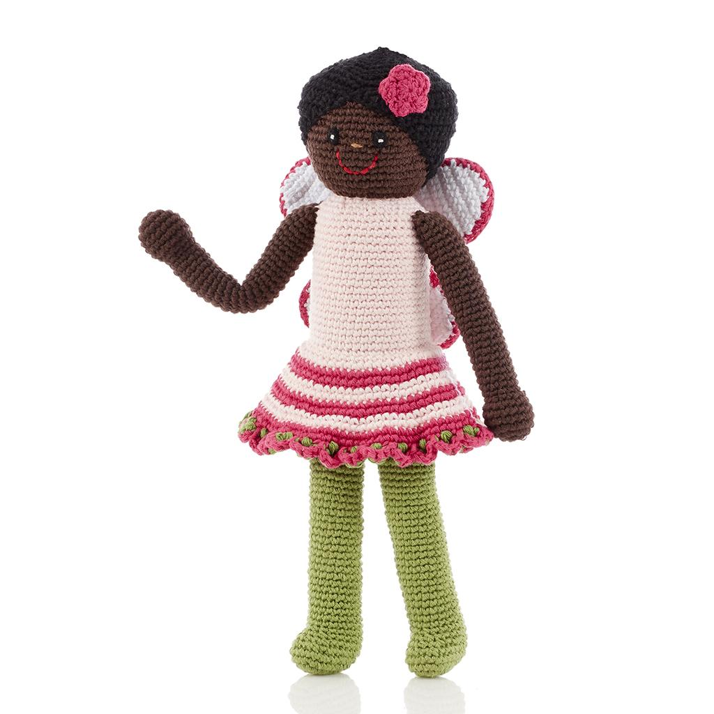 Crochet cotton fairy doll with pink dress and wings, green tights and dark skin