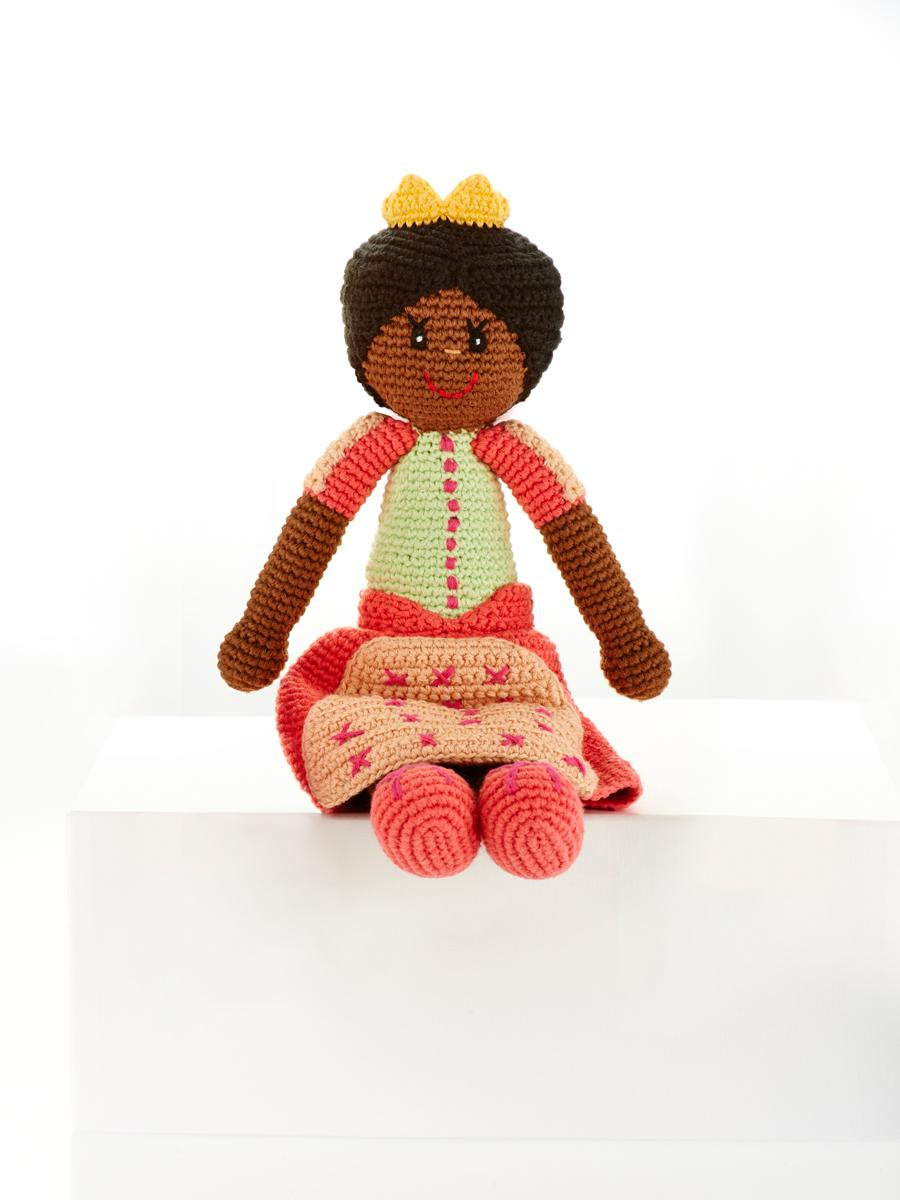 Fair Trade Crochet Cotton Princess Doll in Coral Dress