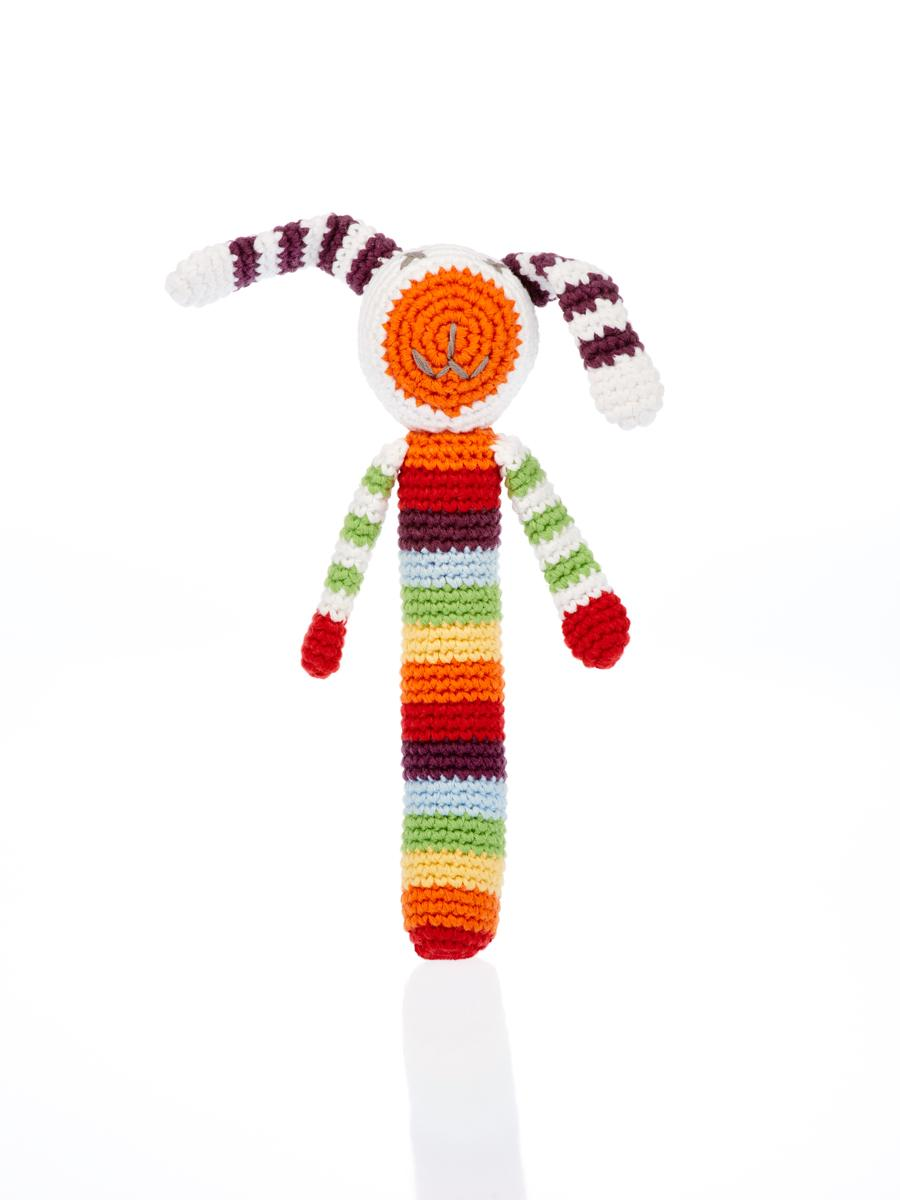 Multi stripe crochet bunny stick rattle