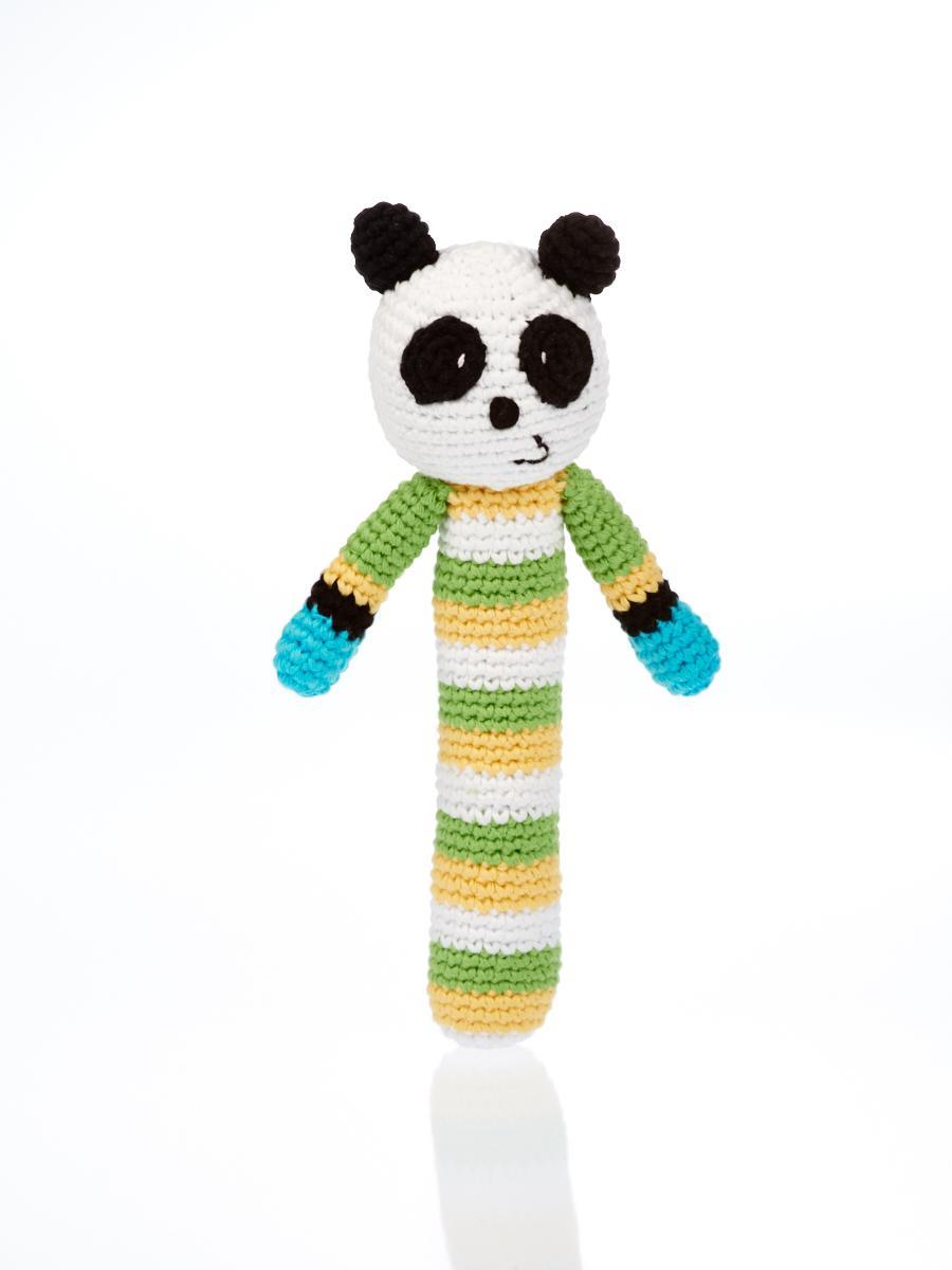 baby toys fair trade crochet panda stick baby rattle