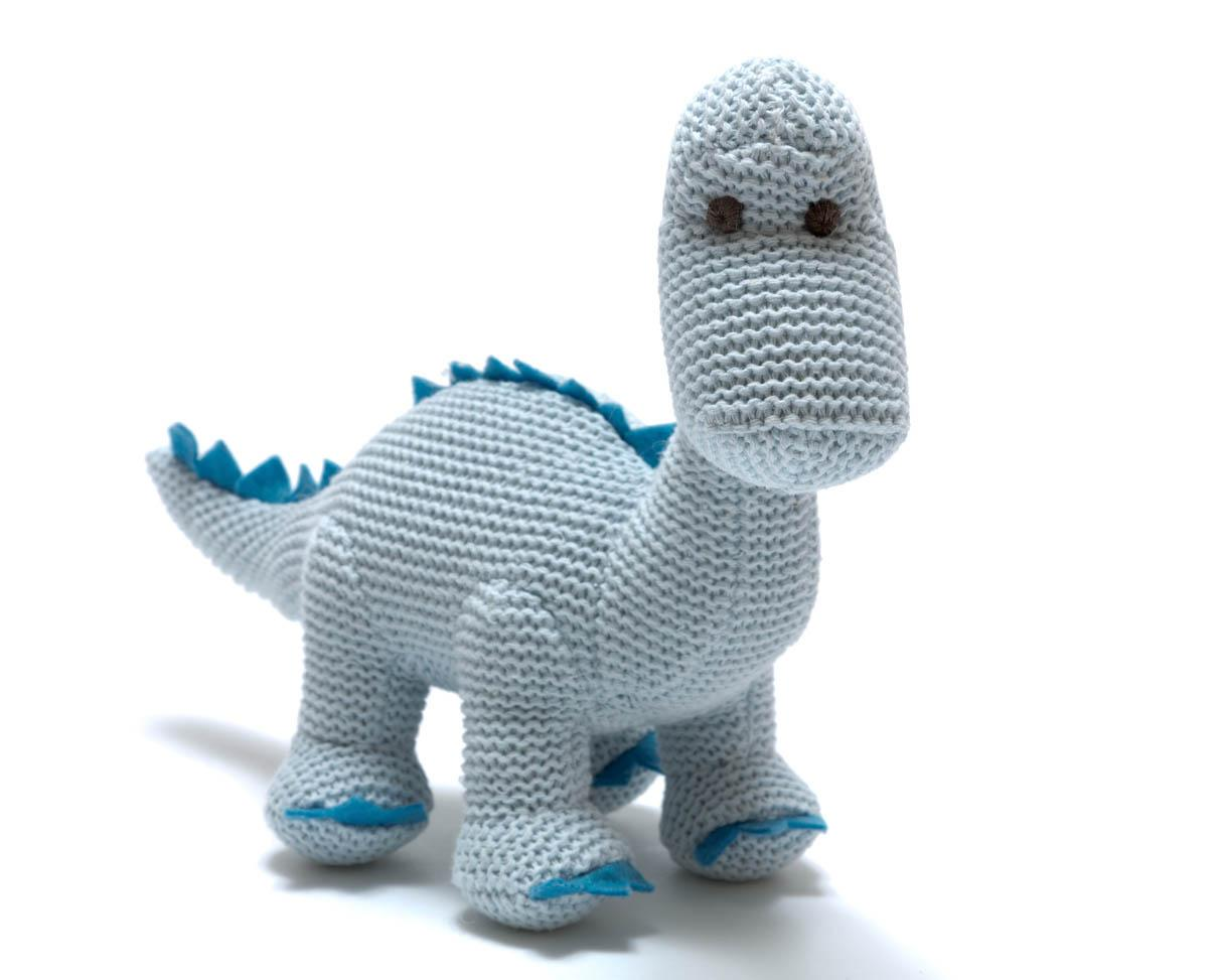 Pastel blue diplodocus knitted dinosaur baby toy with rattle