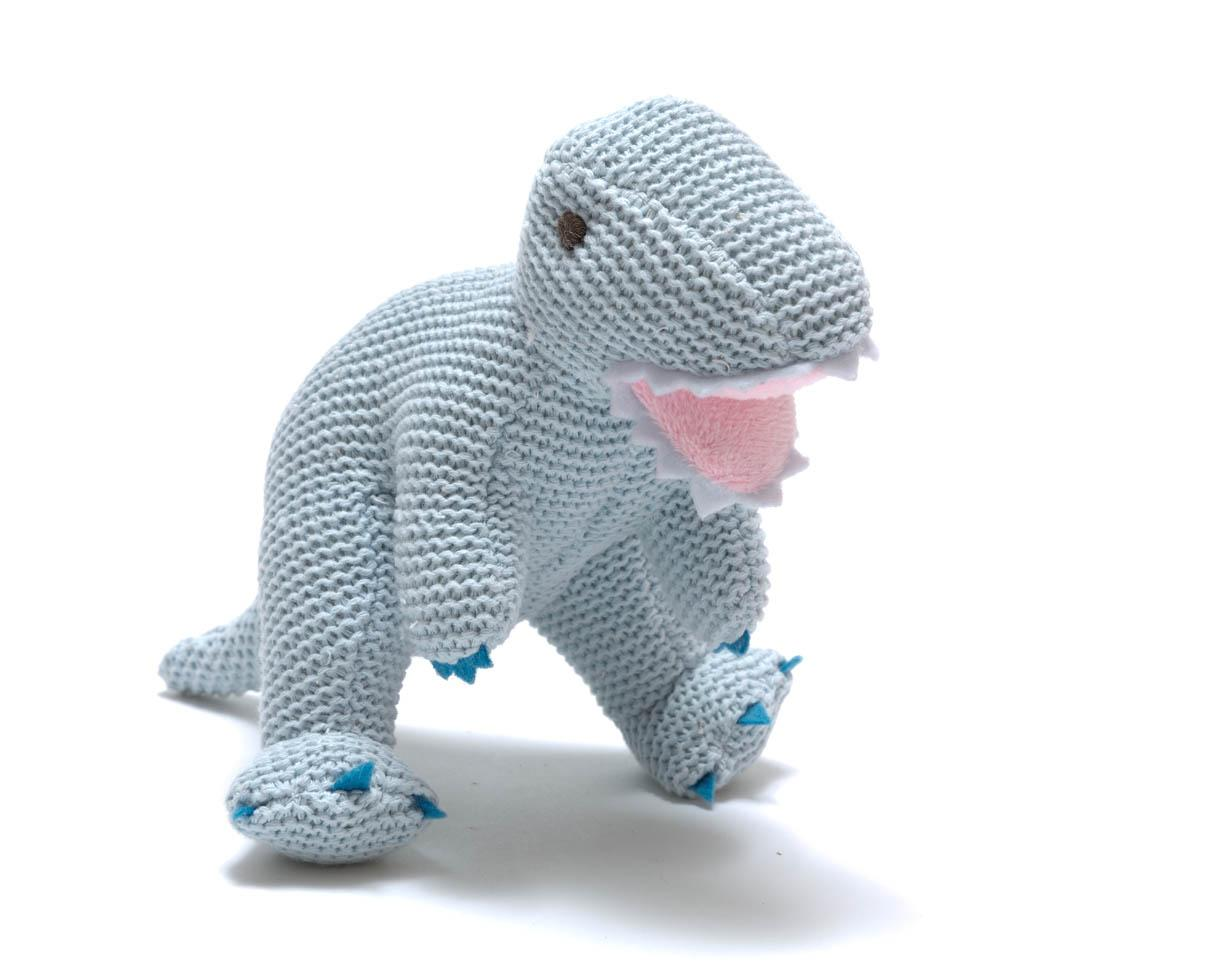 Blue Baby Toys : Sweet baby toys pale blue cotton t rex rattle