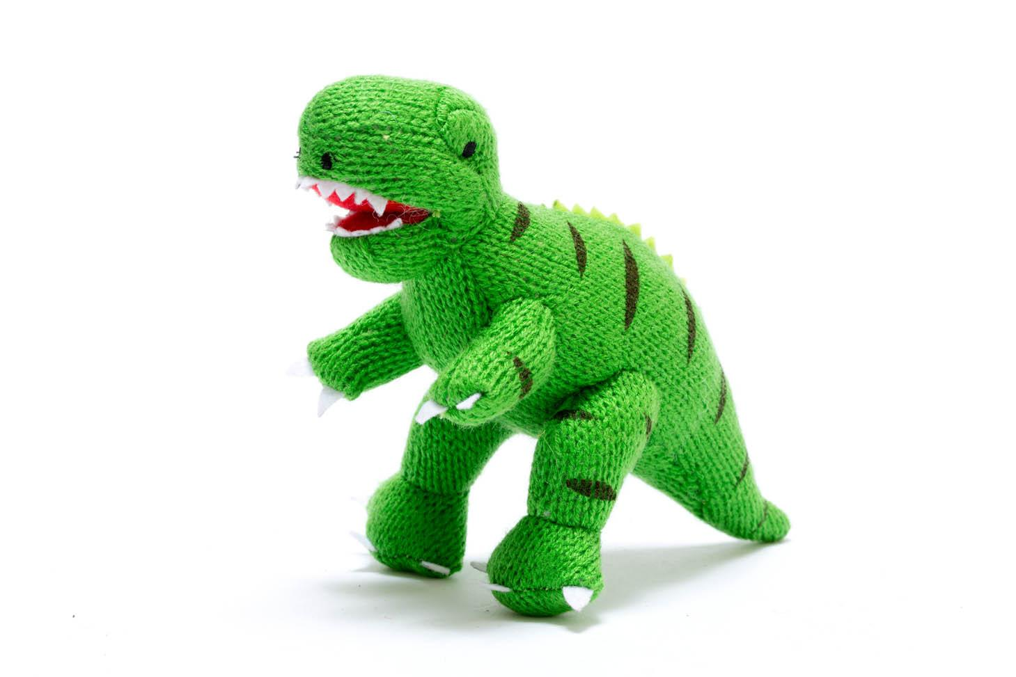 knitted green t Rex rattle baby dinosaur toy