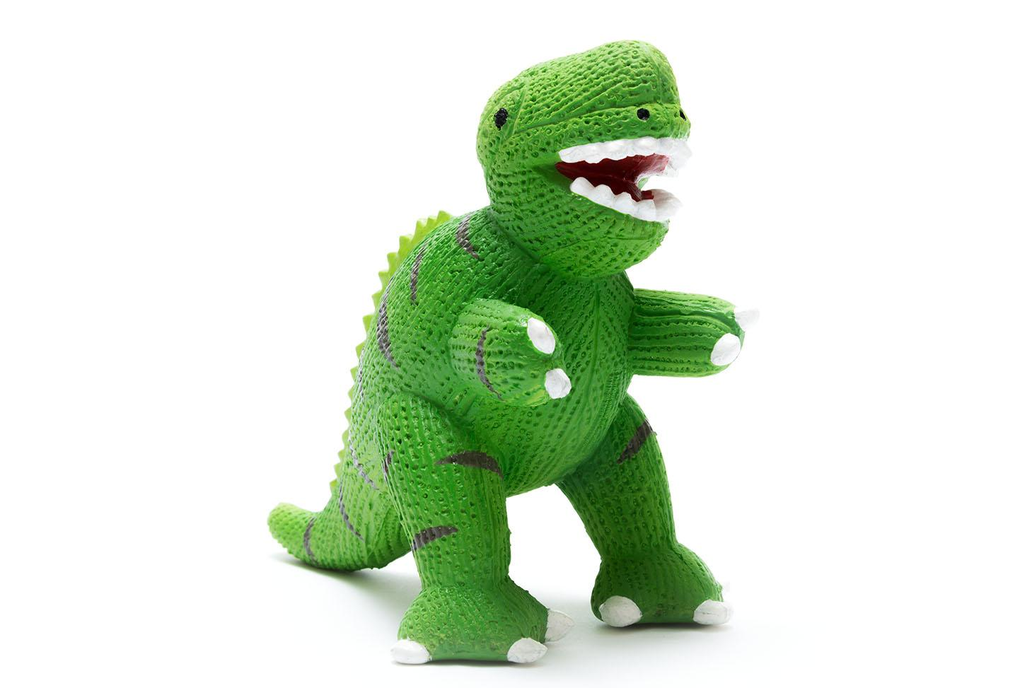 Green natural rubber T rex teether dinosaur toy for babies with textured finish on body