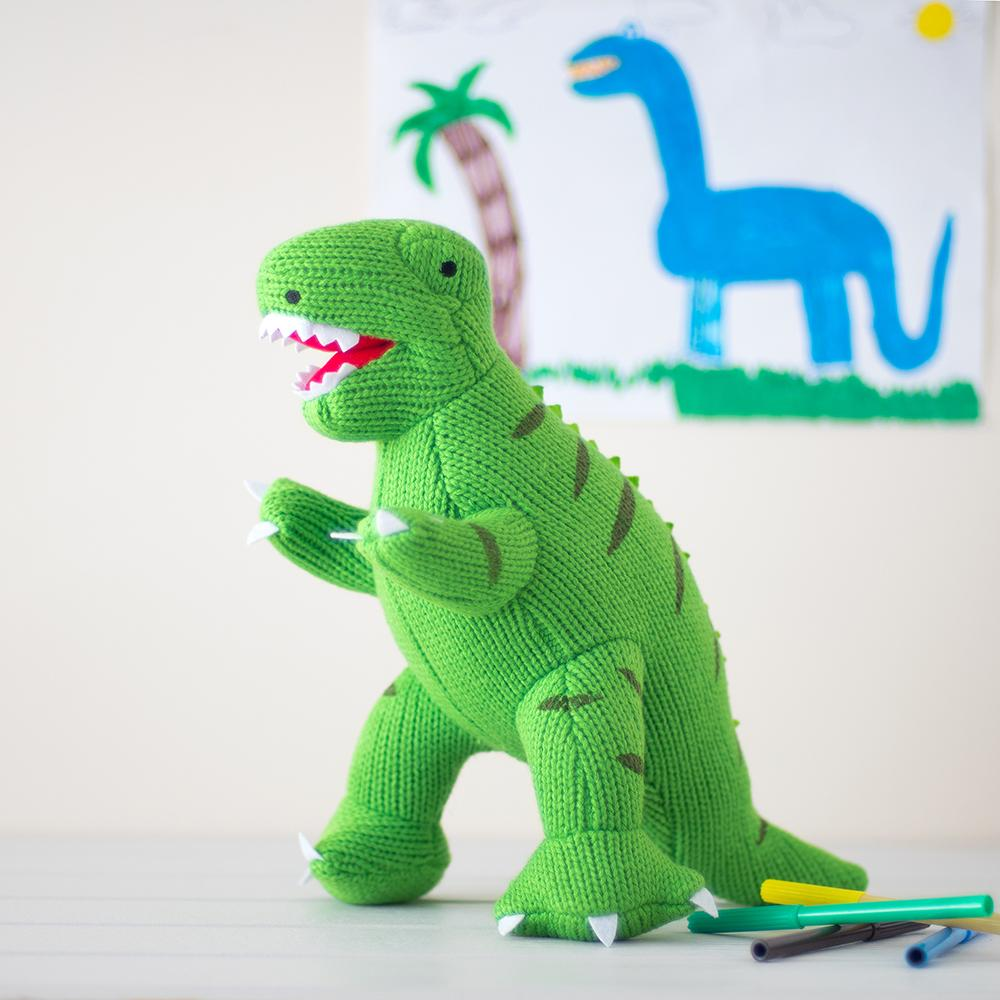 Dinosaurs Large Green Knitted T Rex Dinosaur Soft Toy