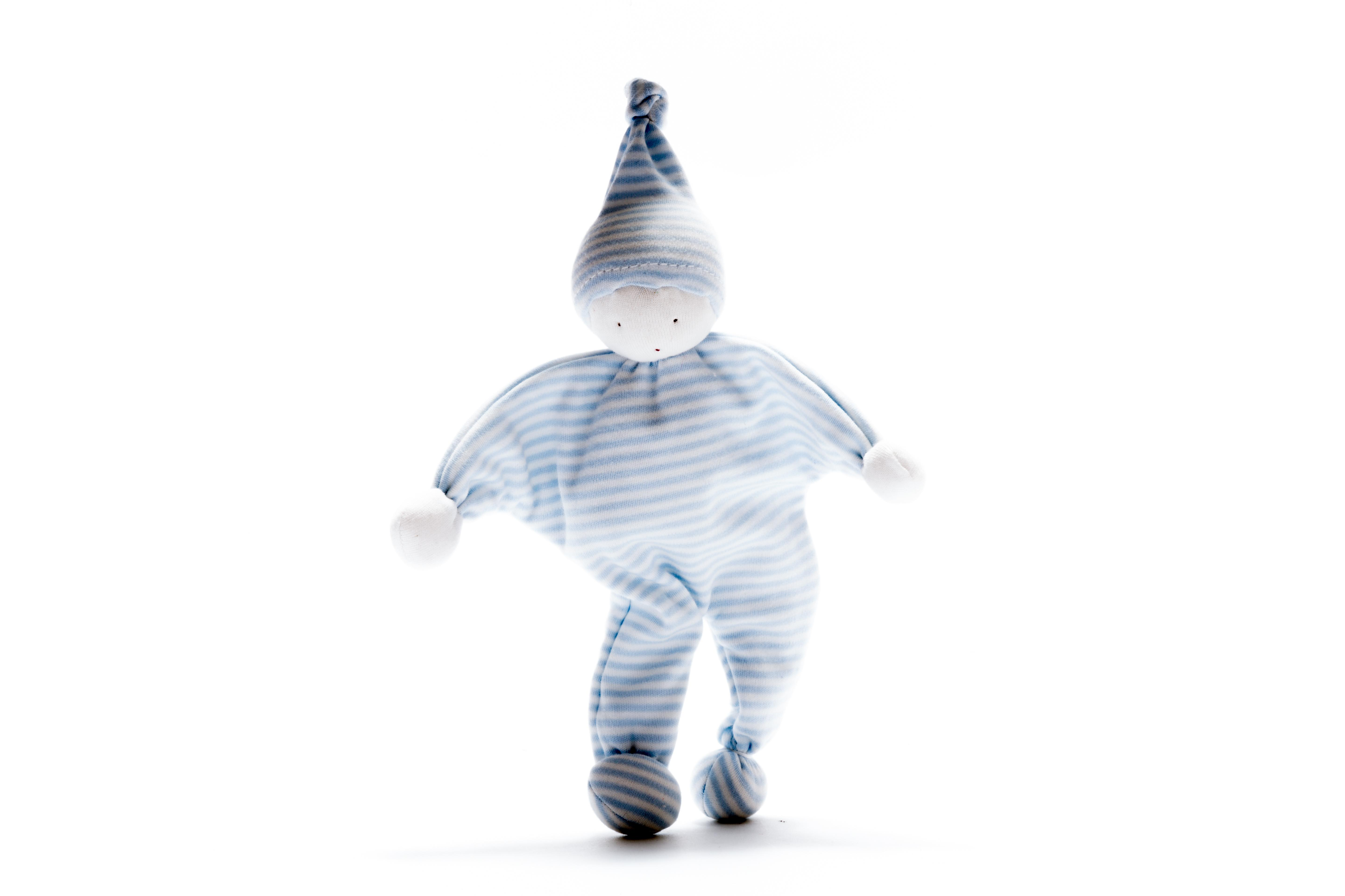Cotton baby comforter made from upcycled material with pale blue and white stripes and matching pointy hat