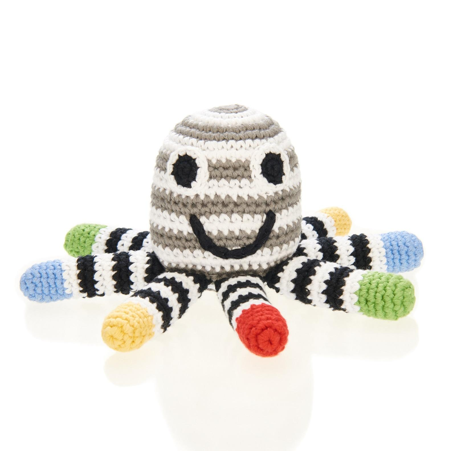 Crochet Cotton Black & White Octopus Baby Rattle