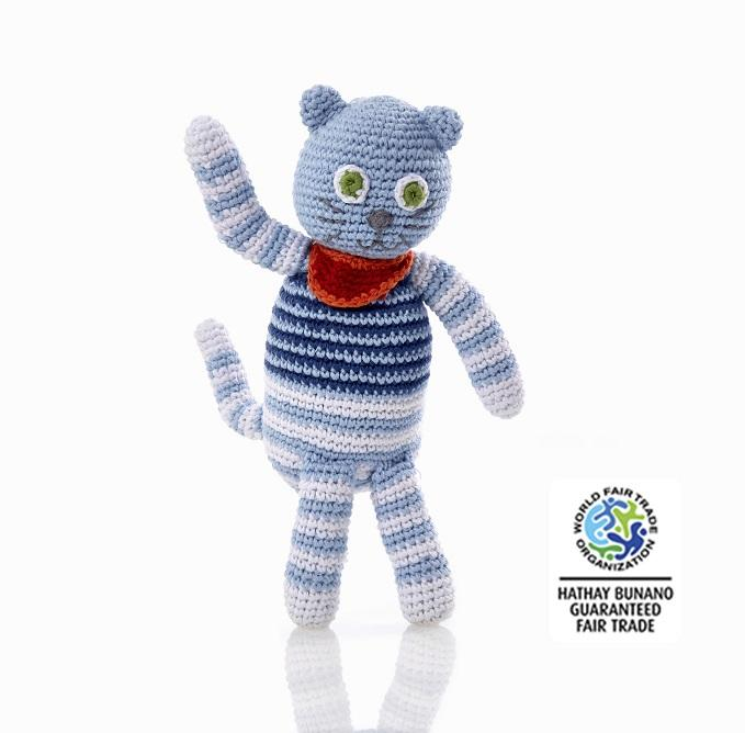 Crochet Cotton Blue Stripe Cat Baby Rattle