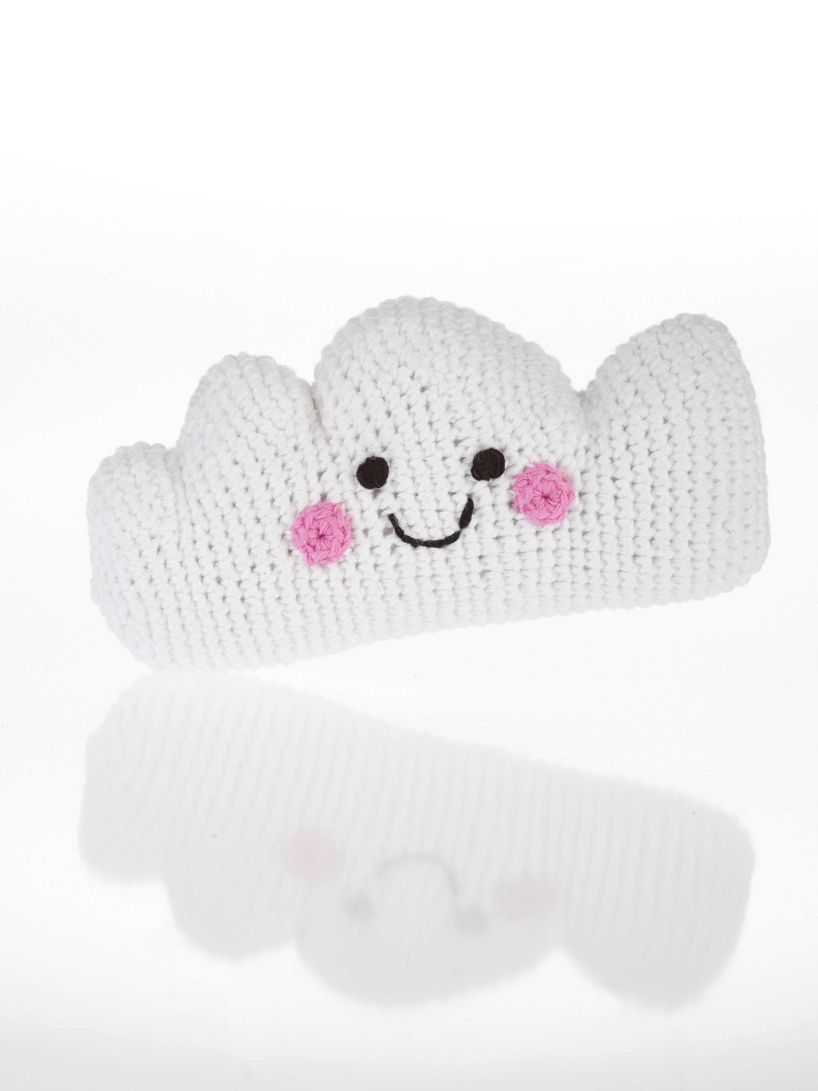 Fair Trade Crochet Cotton Cloud Baby Rattle