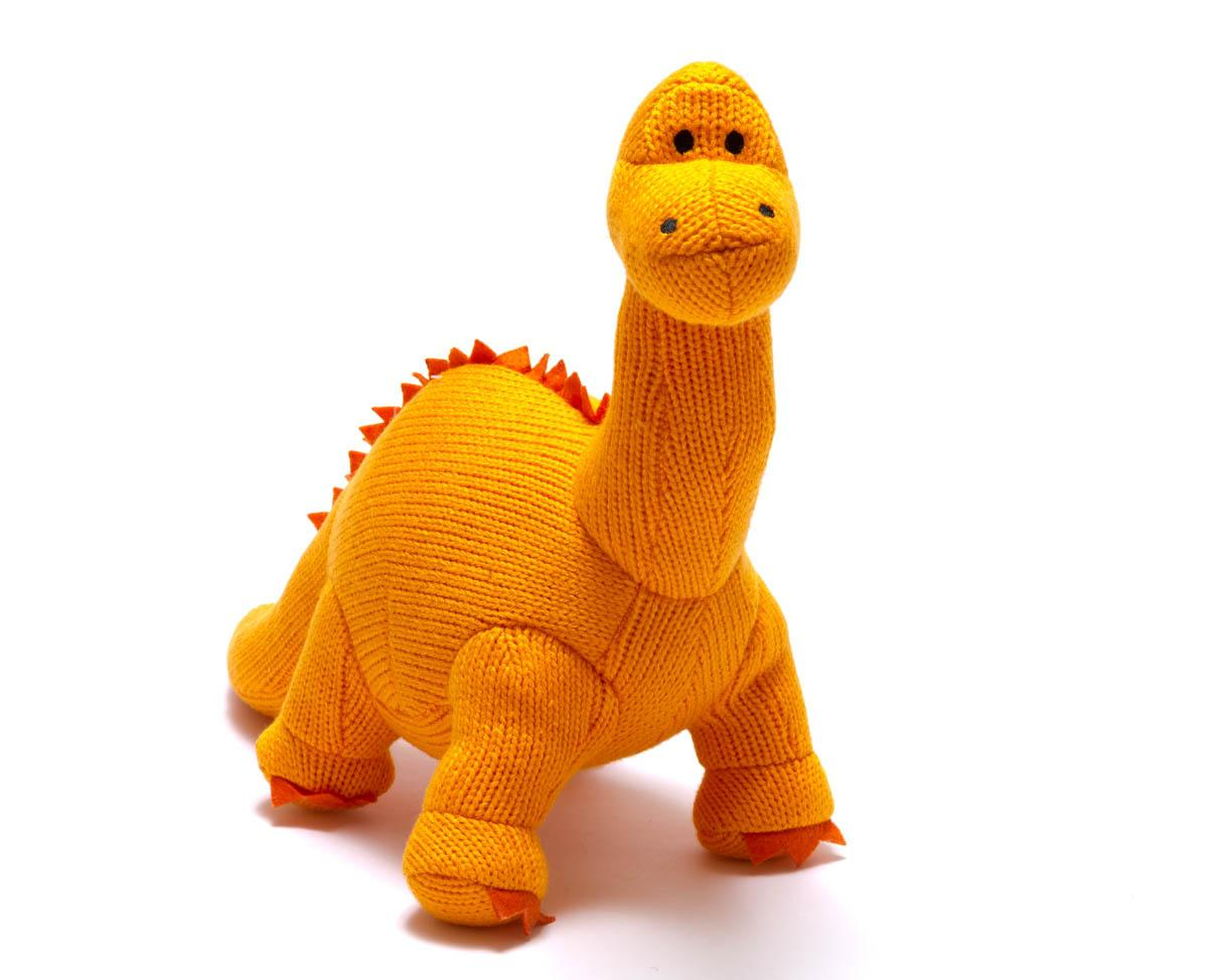 orange knitted diplodocus dinosaur toy for babies