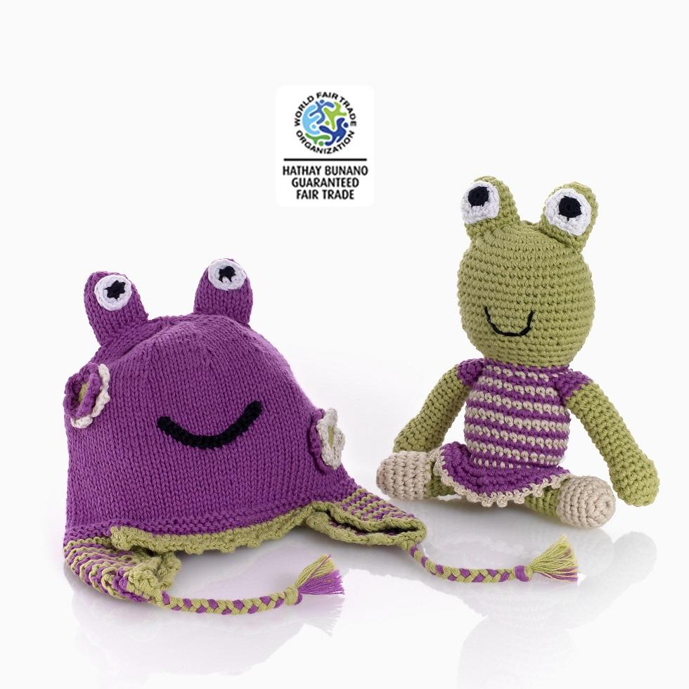 Hats : Knitted Baby Hat Frog Mulberry 1 - 2 yrs