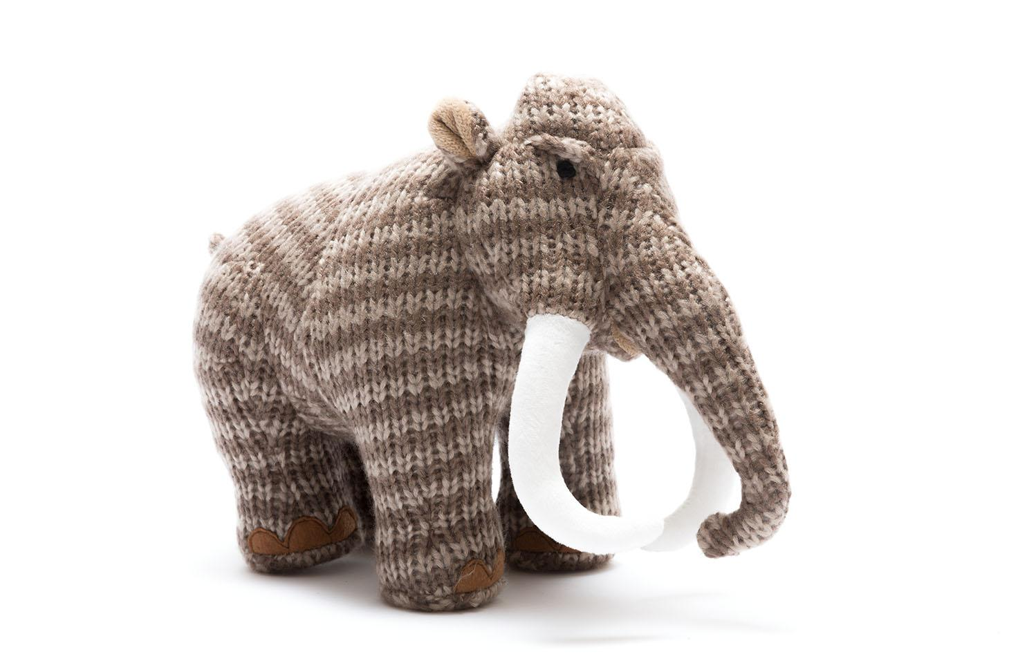knitted brown woolly mammoth dinosaur toy suitable from birth